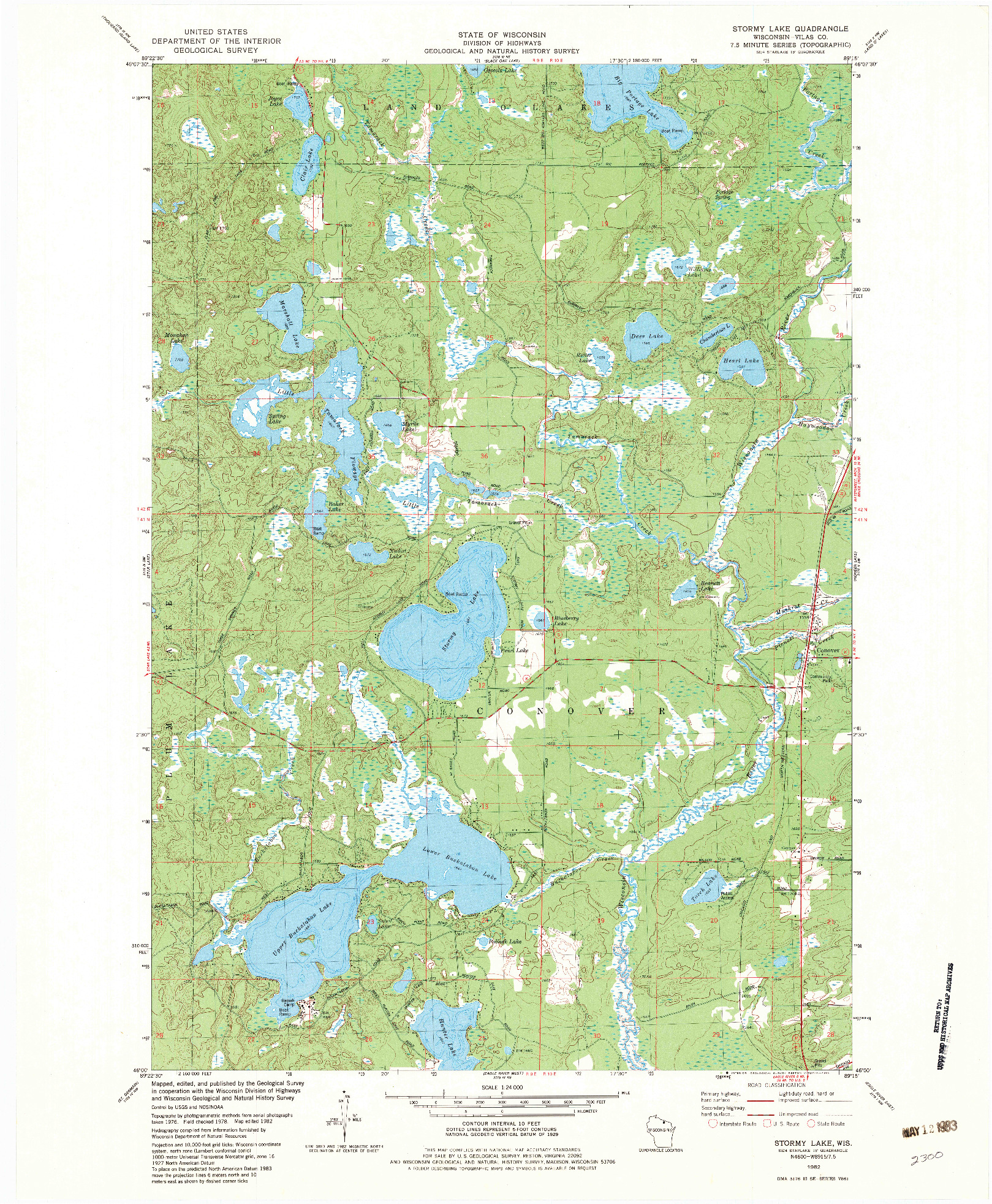USGS 1:24000-SCALE QUADRANGLE FOR STORMY LAKE, WI 1982