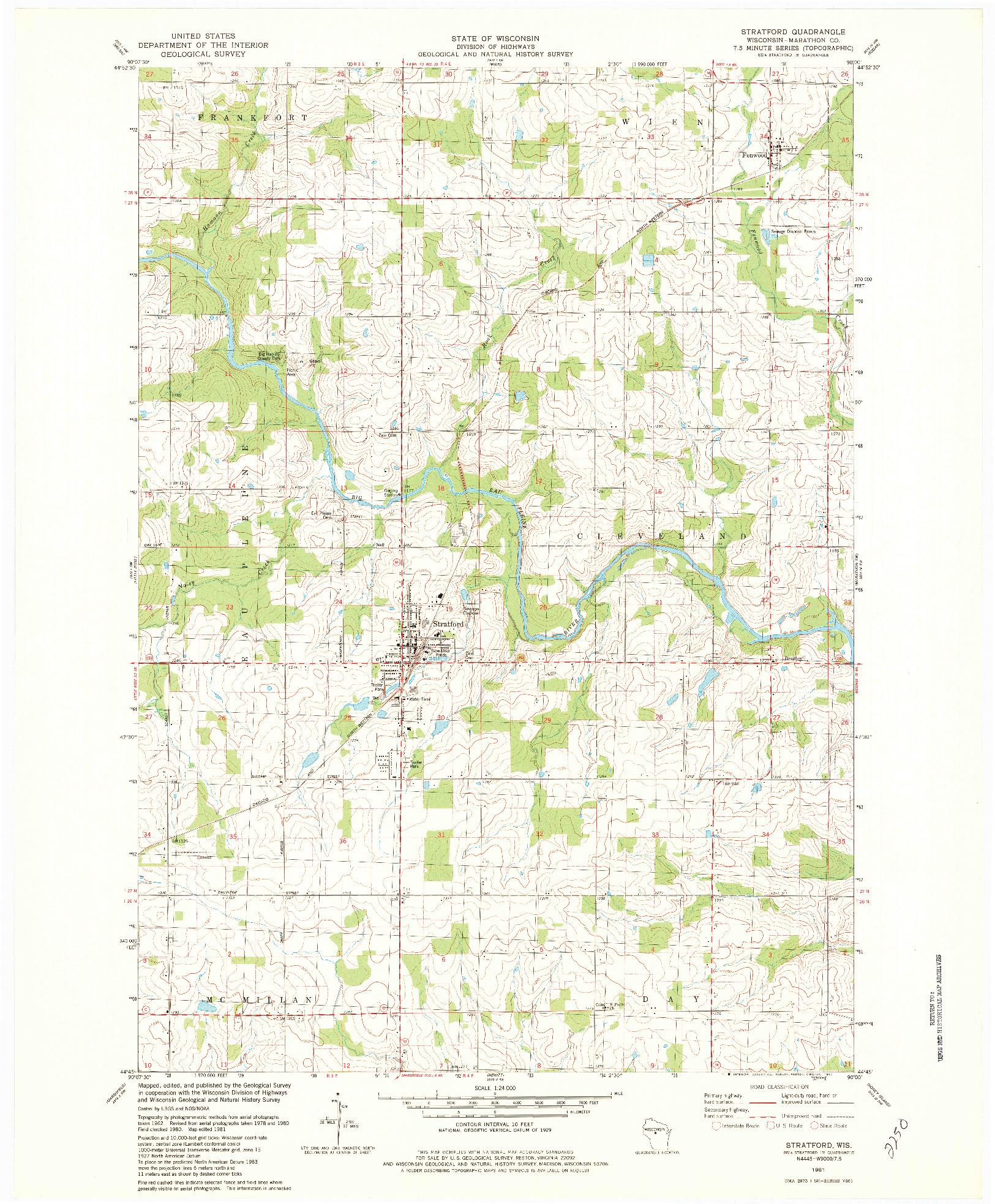 USGS 1:24000-SCALE QUADRANGLE FOR STRATFORD, WI 1981