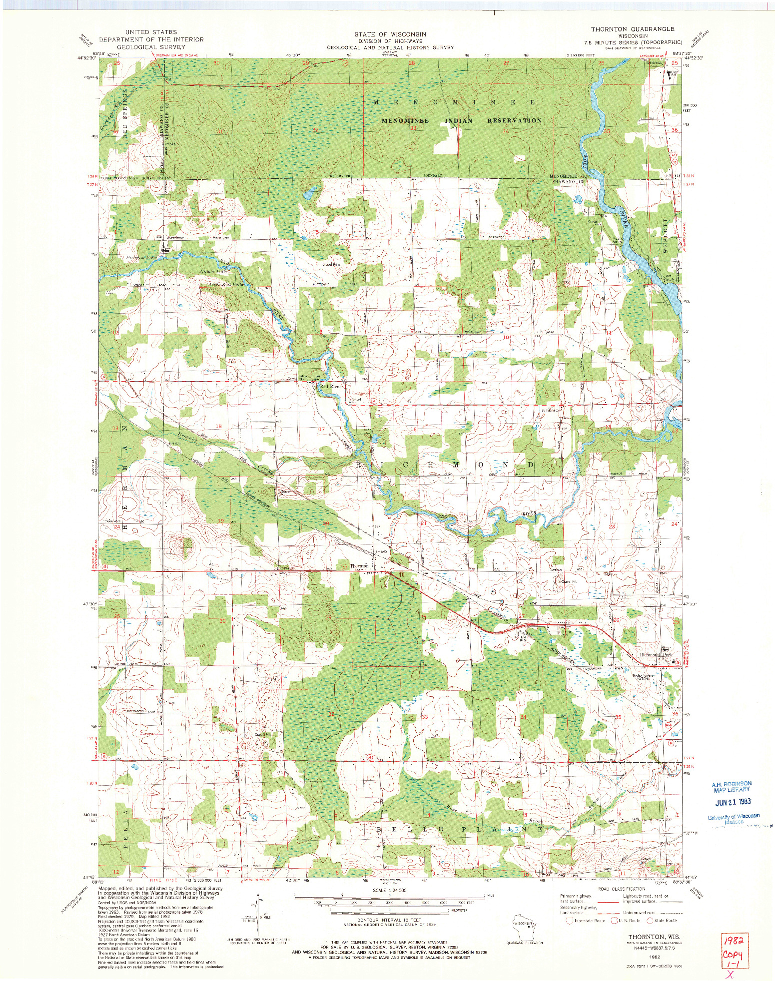 USGS 1:24000-SCALE QUADRANGLE FOR THORNTON, WI 1982