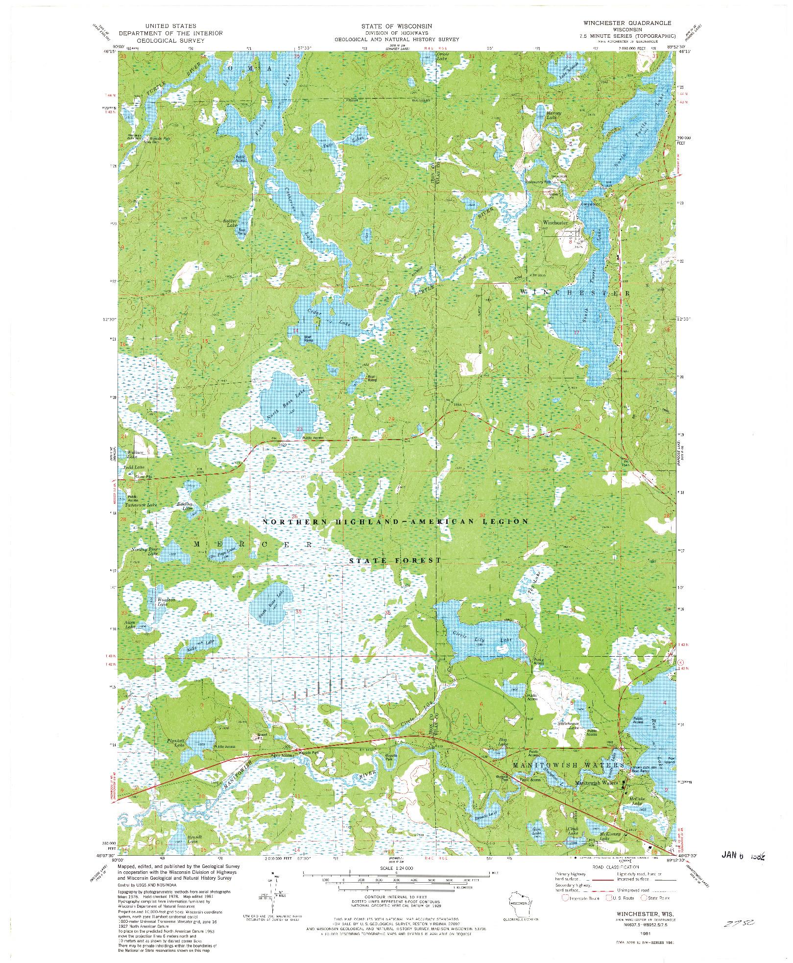 USGS 1:24000-SCALE QUADRANGLE FOR WINCHESTER, WI 1981