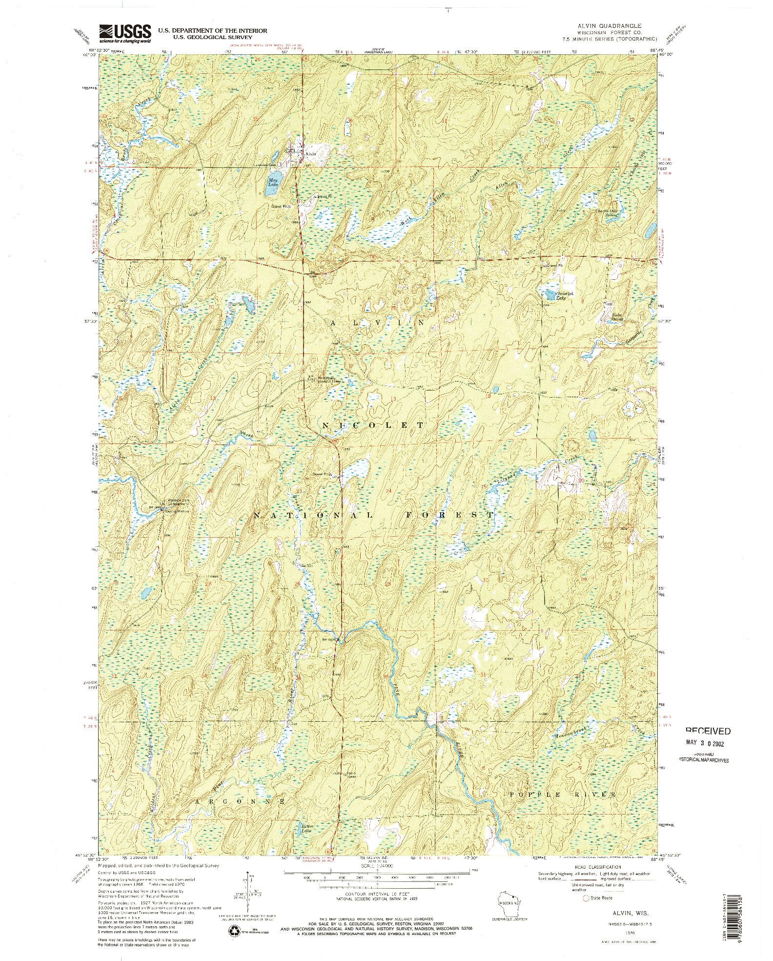 USGS 1:24000-SCALE QUADRANGLE FOR ALVIN, WI 1970