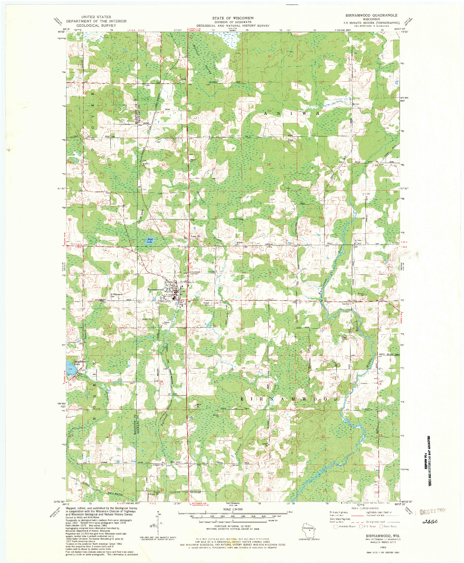 USGS 1:24000-SCALE QUADRANGLE FOR BIRNAMWOOD, WI 1982