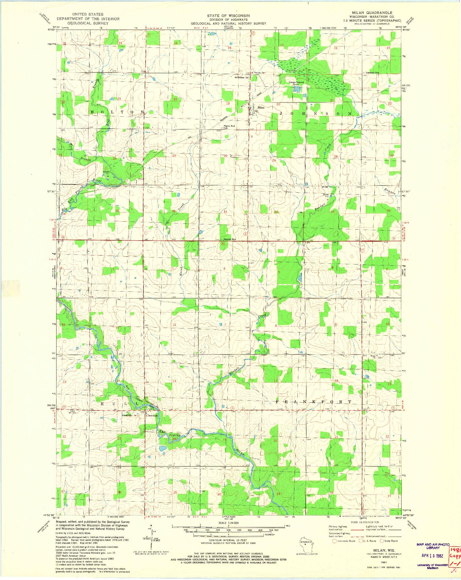 USGS 1:24000-SCALE QUADRANGLE FOR MILAN, WI 1981