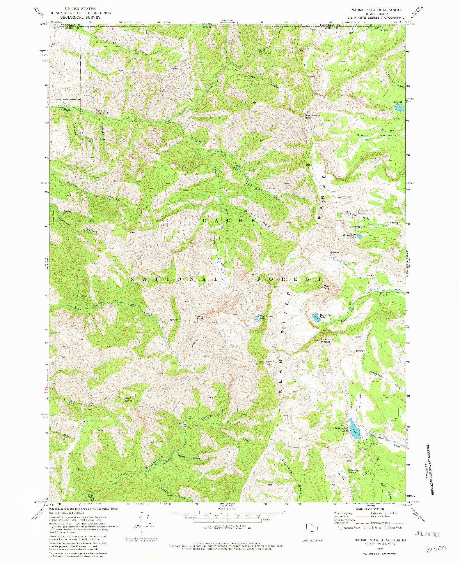 USGS 1:24000-SCALE QUADRANGLE FOR NAOMI PEAK, UT 1969