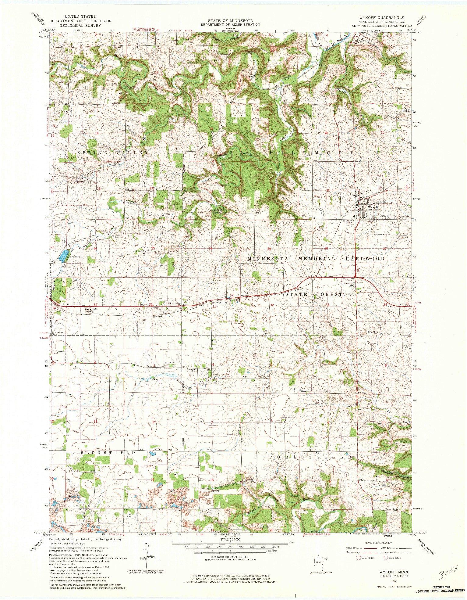 USGS 1:24000-SCALE QUADRANGLE FOR WYKOFF, MN 1965