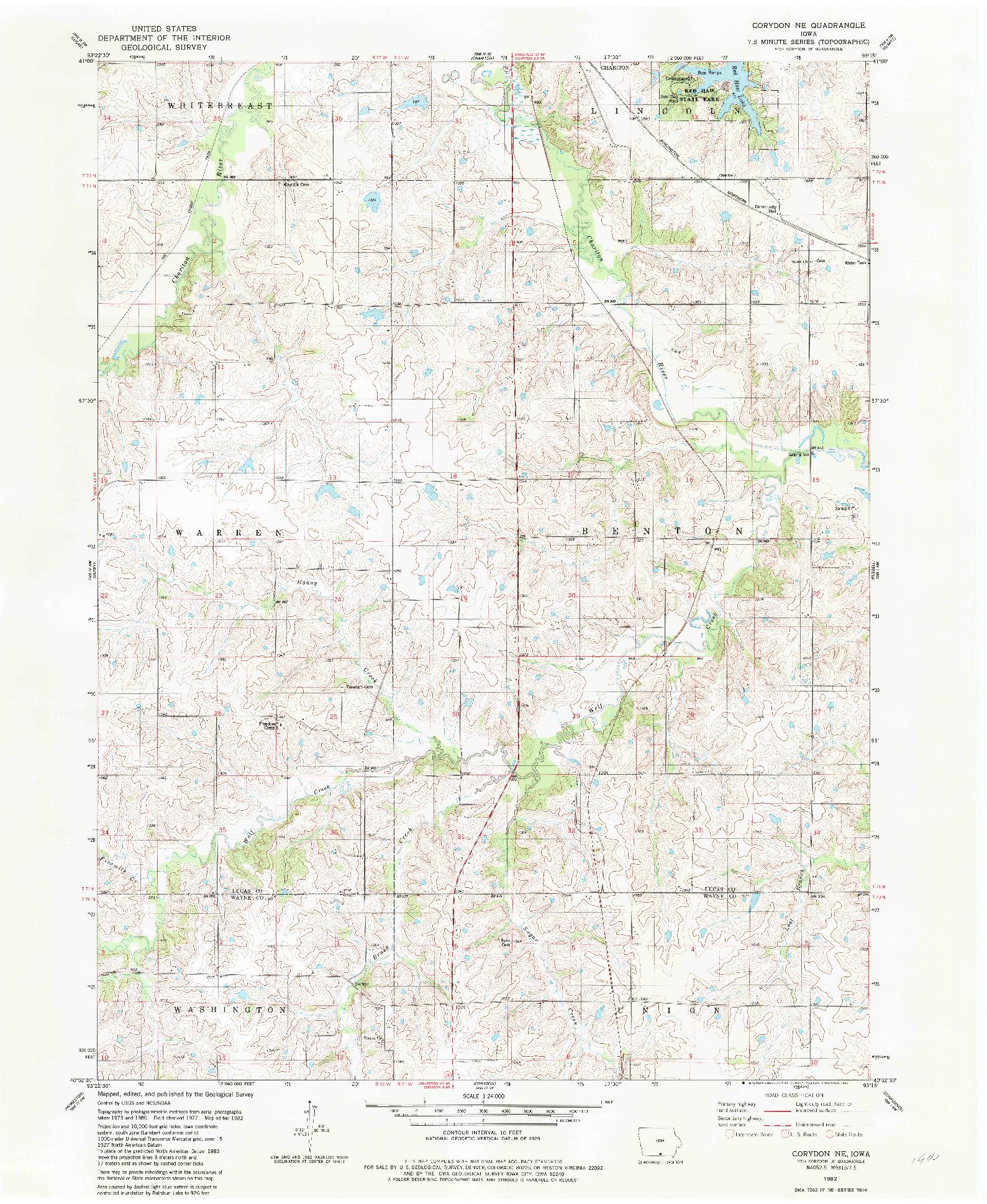 USGS 1:24000-SCALE QUADRANGLE FOR CORYDON NE, IA 1982