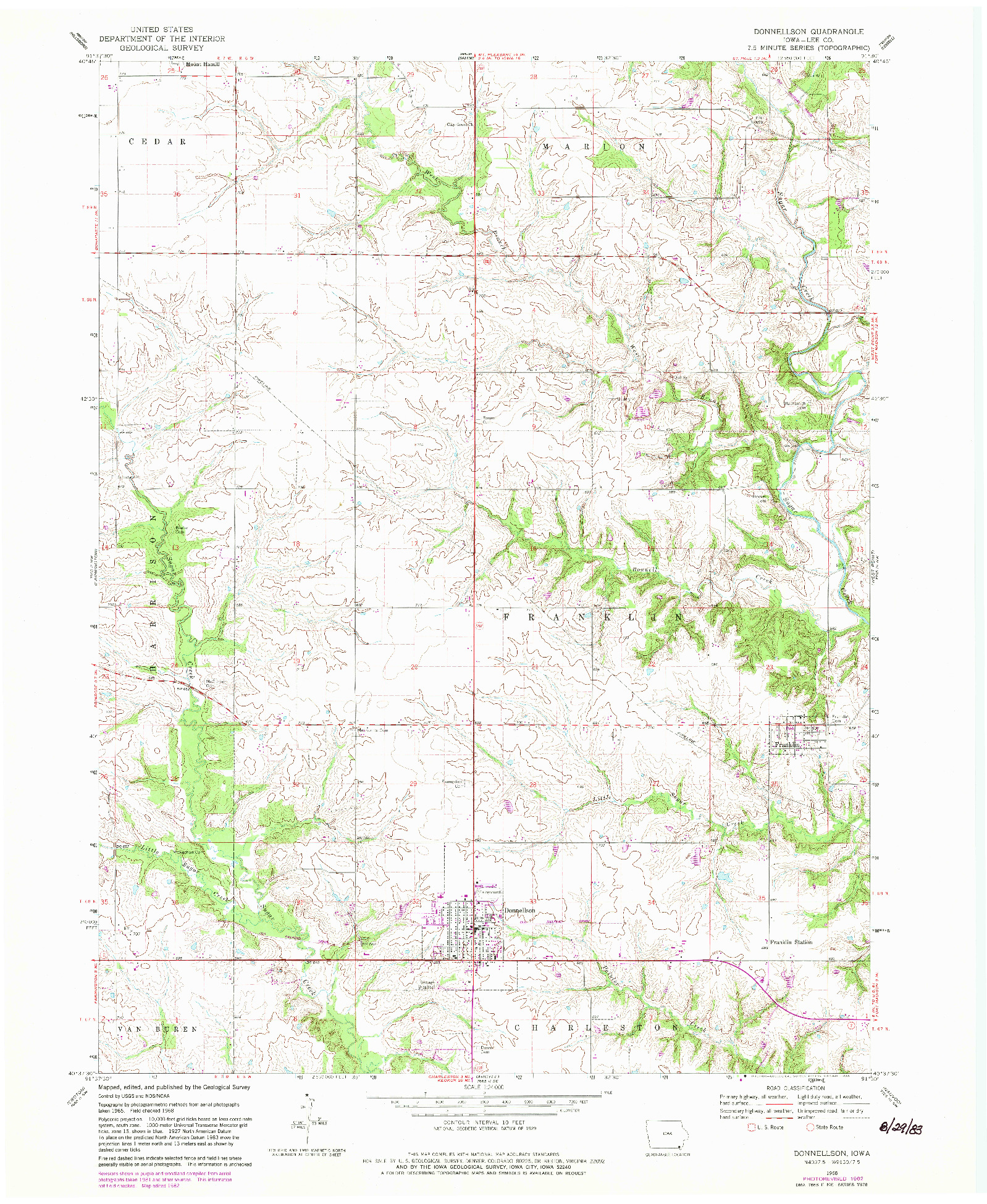 USGS 1:24000-SCALE QUADRANGLE FOR DONNELLSON, IA 1968