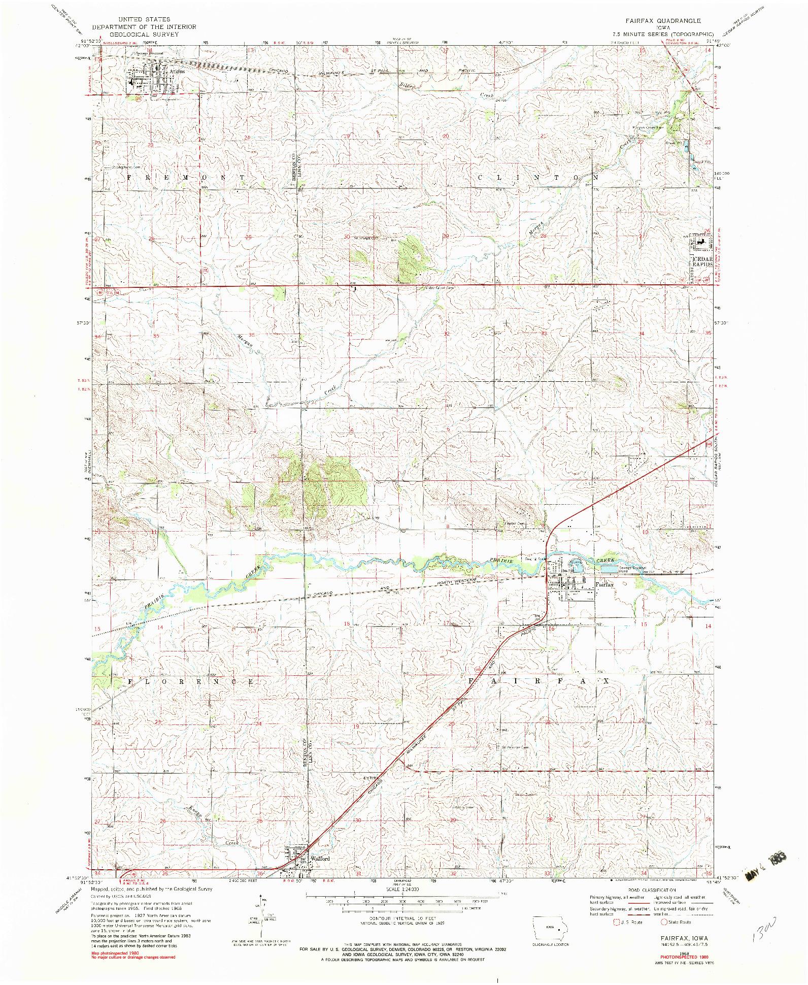 USGS 1:24000-SCALE QUADRANGLE FOR FAIRFAX, IA 1968