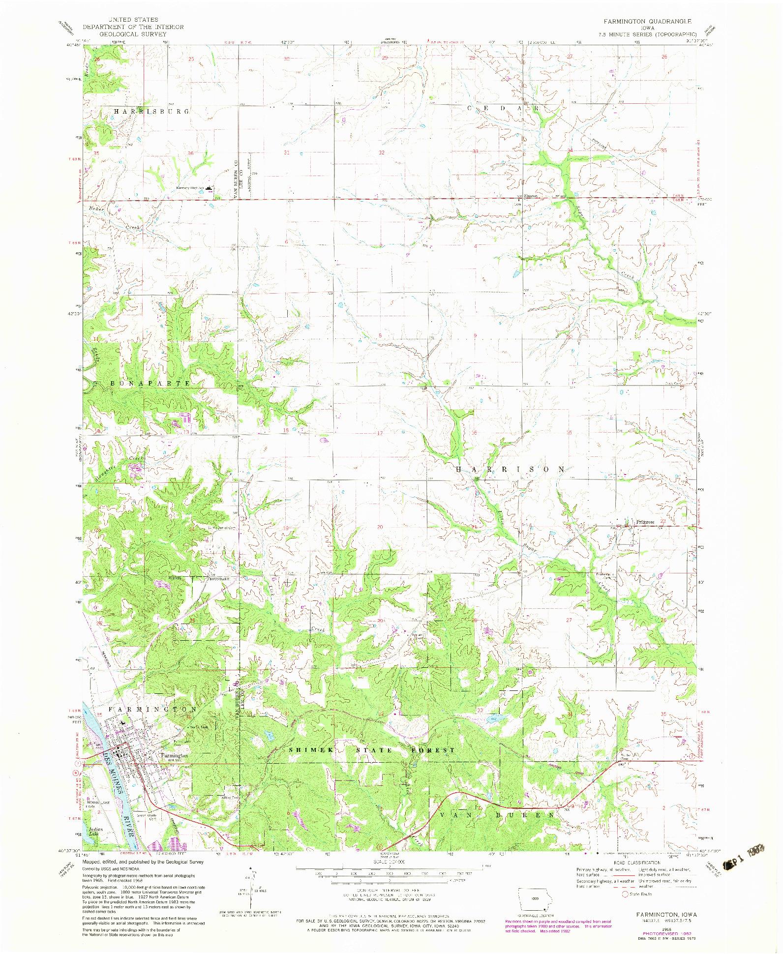 USGS 1:24000-SCALE QUADRANGLE FOR FARMINGTON, IA 1968
