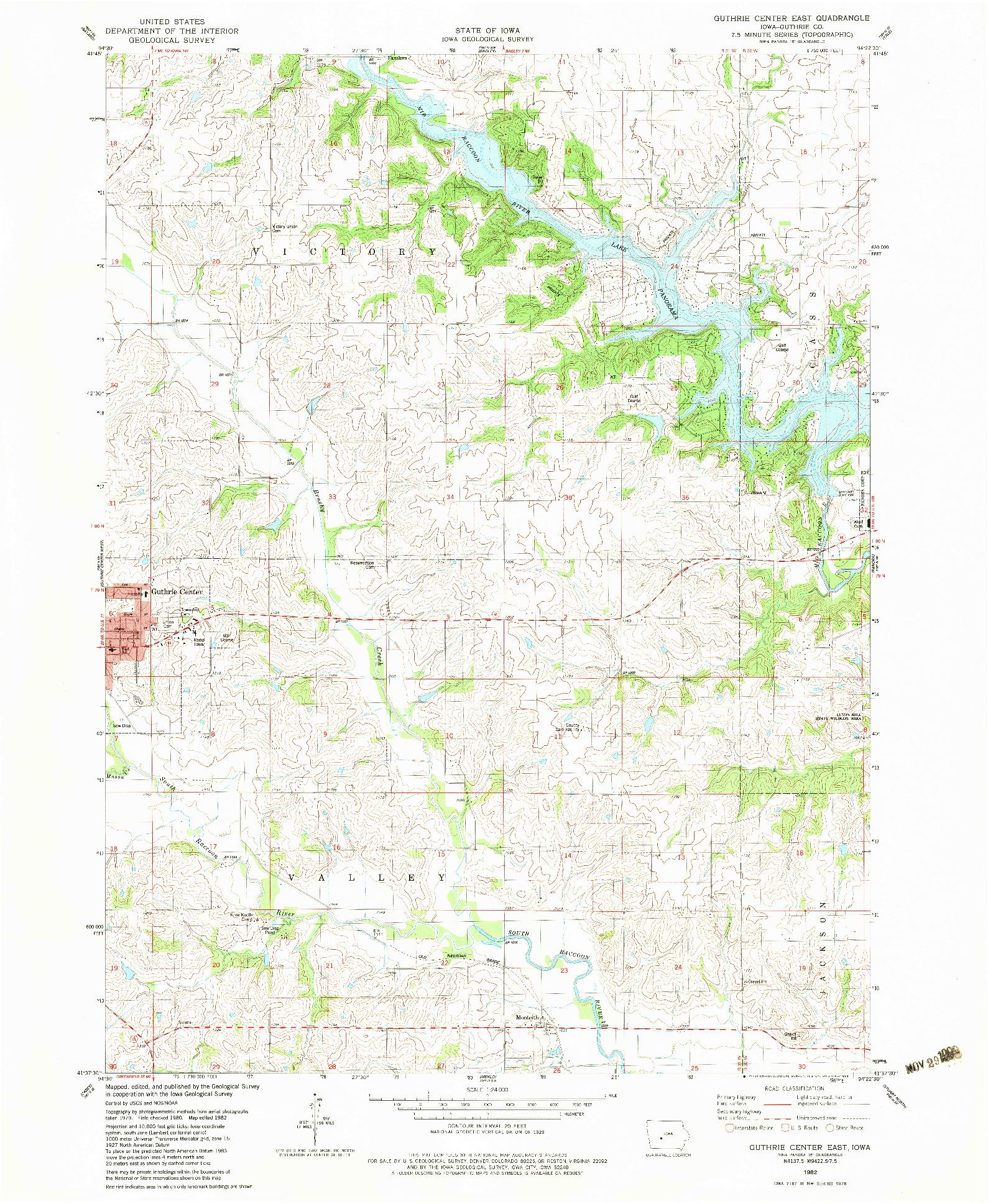 USGS 1:24000-SCALE QUADRANGLE FOR GUTHRIE CENTER EAST, IA 1982