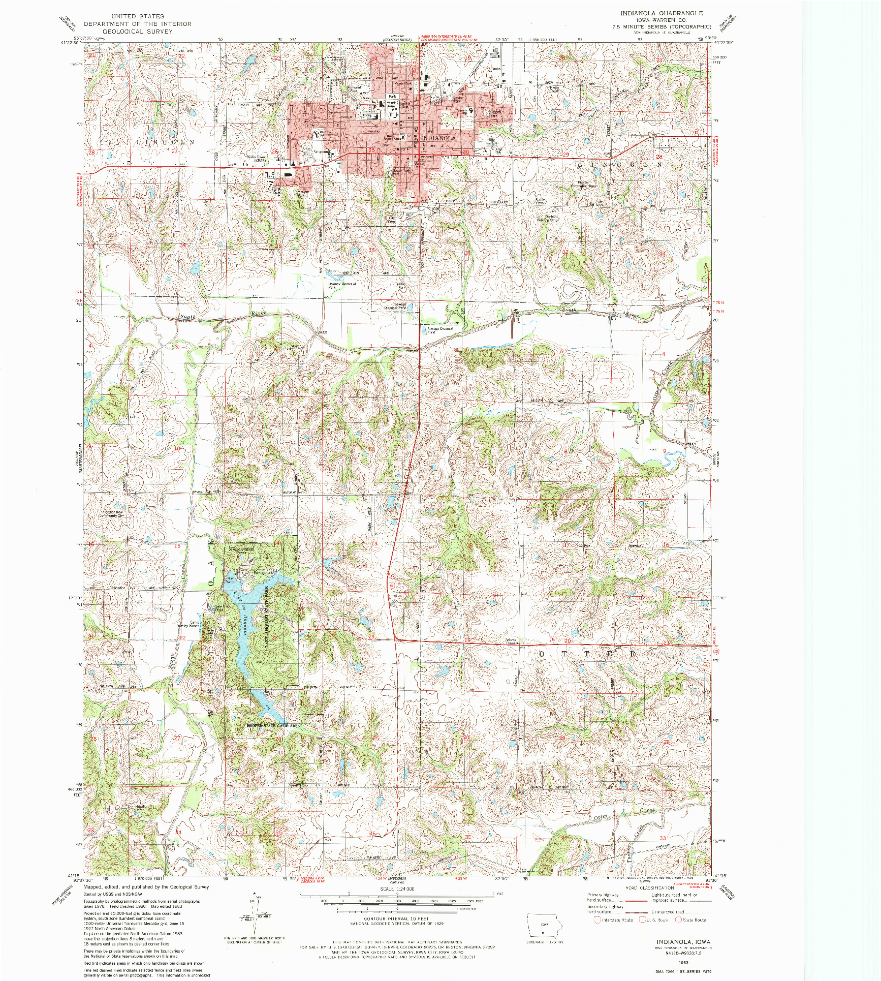 USGS 1:24000-SCALE QUADRANGLE FOR INDIANOLA, IA 1983