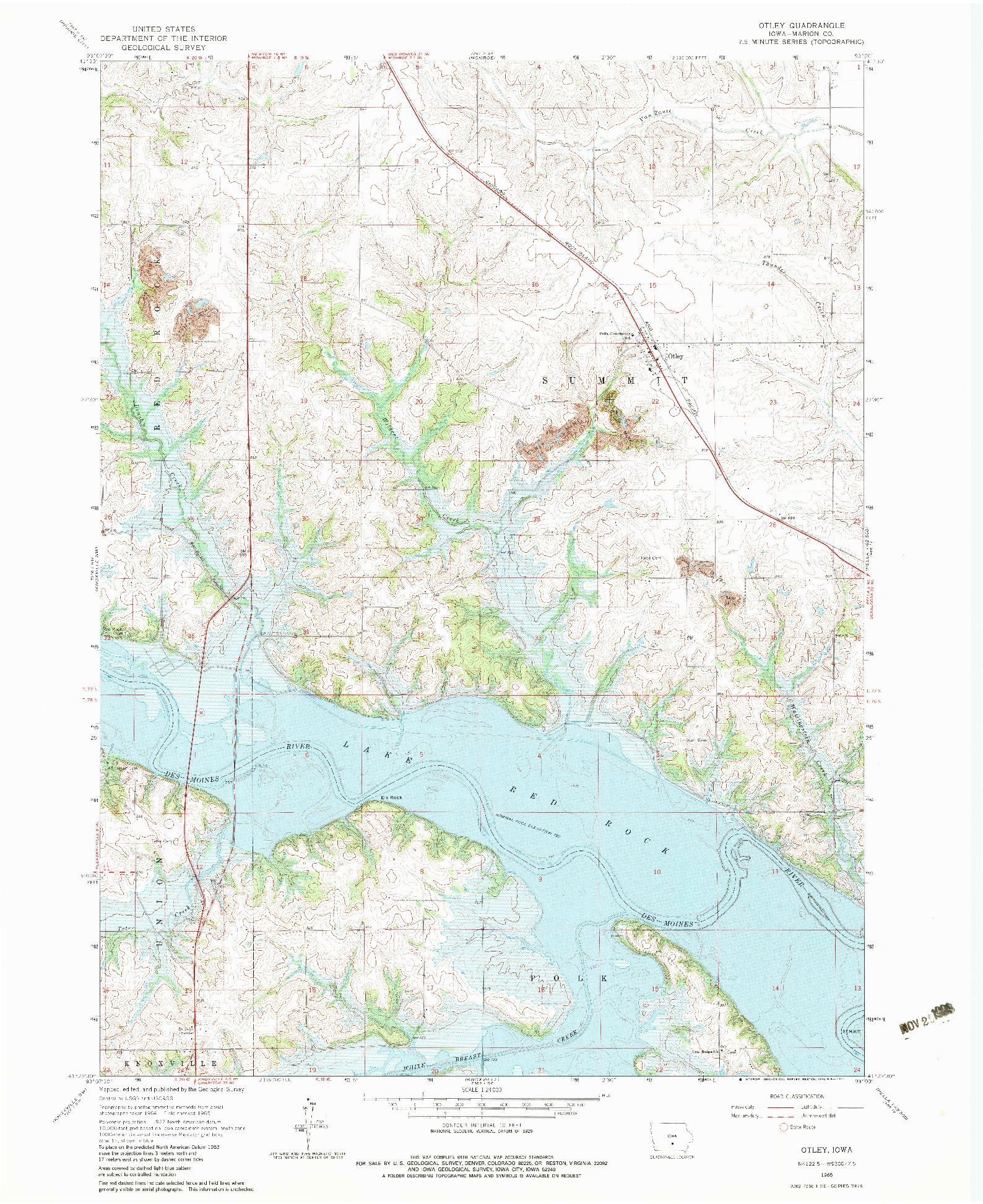 USGS 1:24000-SCALE QUADRANGLE FOR OTLEY, IA 1965