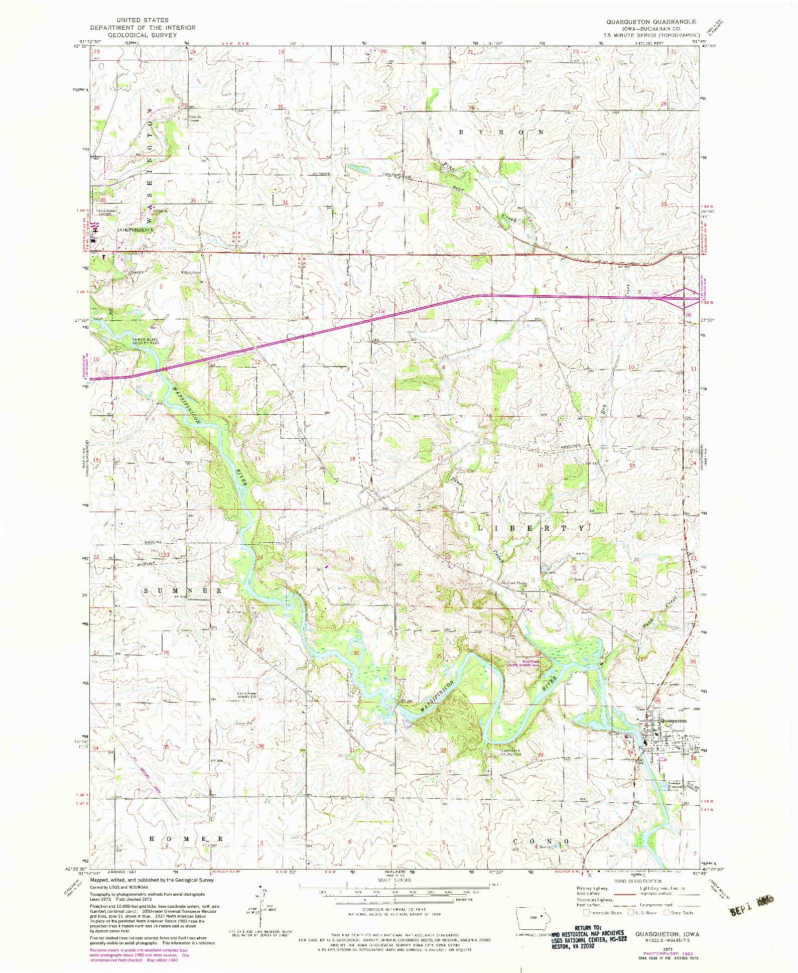 USGS 1:24000-SCALE QUADRANGLE FOR QUASQUETON, IA 1973