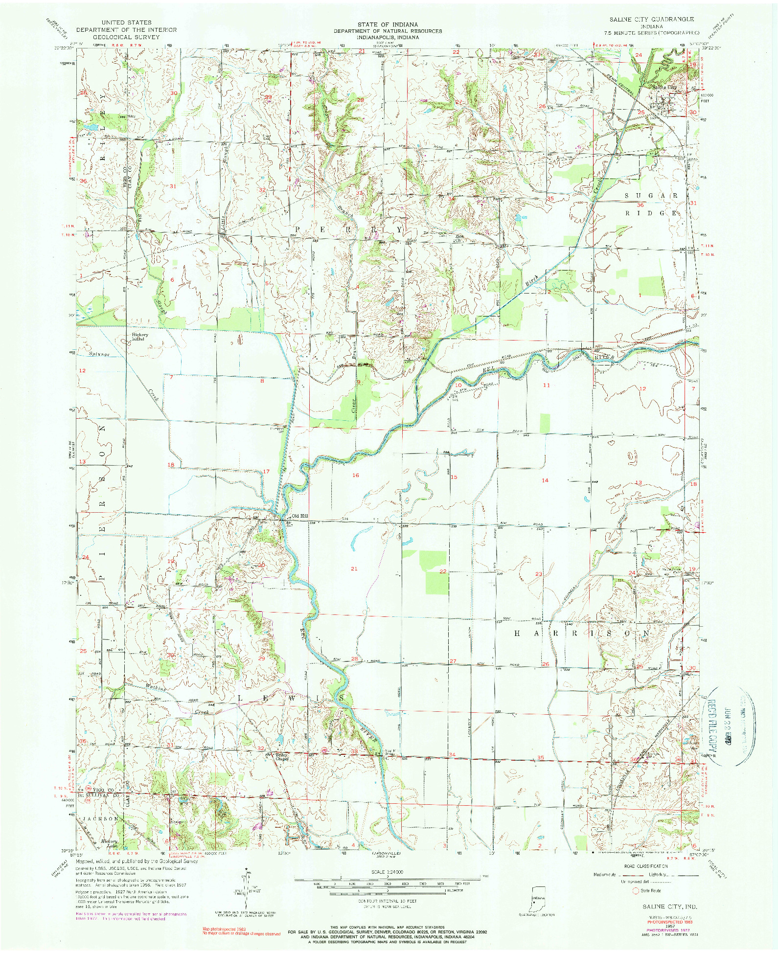 USGS 1:24000-SCALE QUADRANGLE FOR SALINE CITY, IN 1957