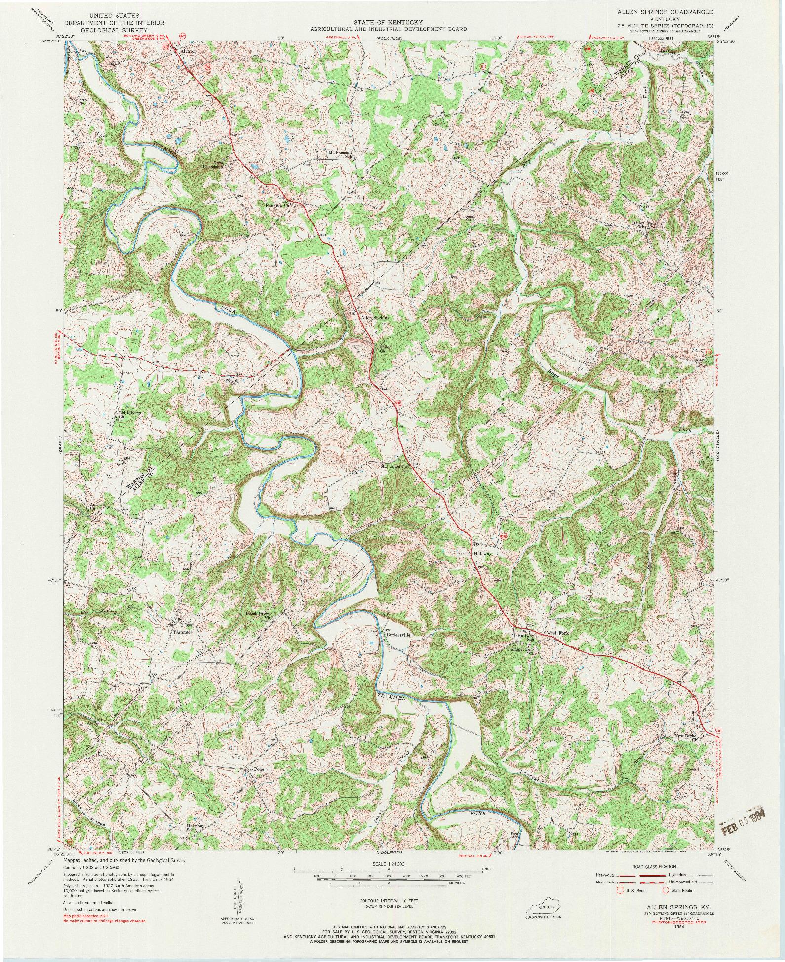 USGS 1:24000-SCALE QUADRANGLE FOR ALLEN SPRINGS, KY 1954