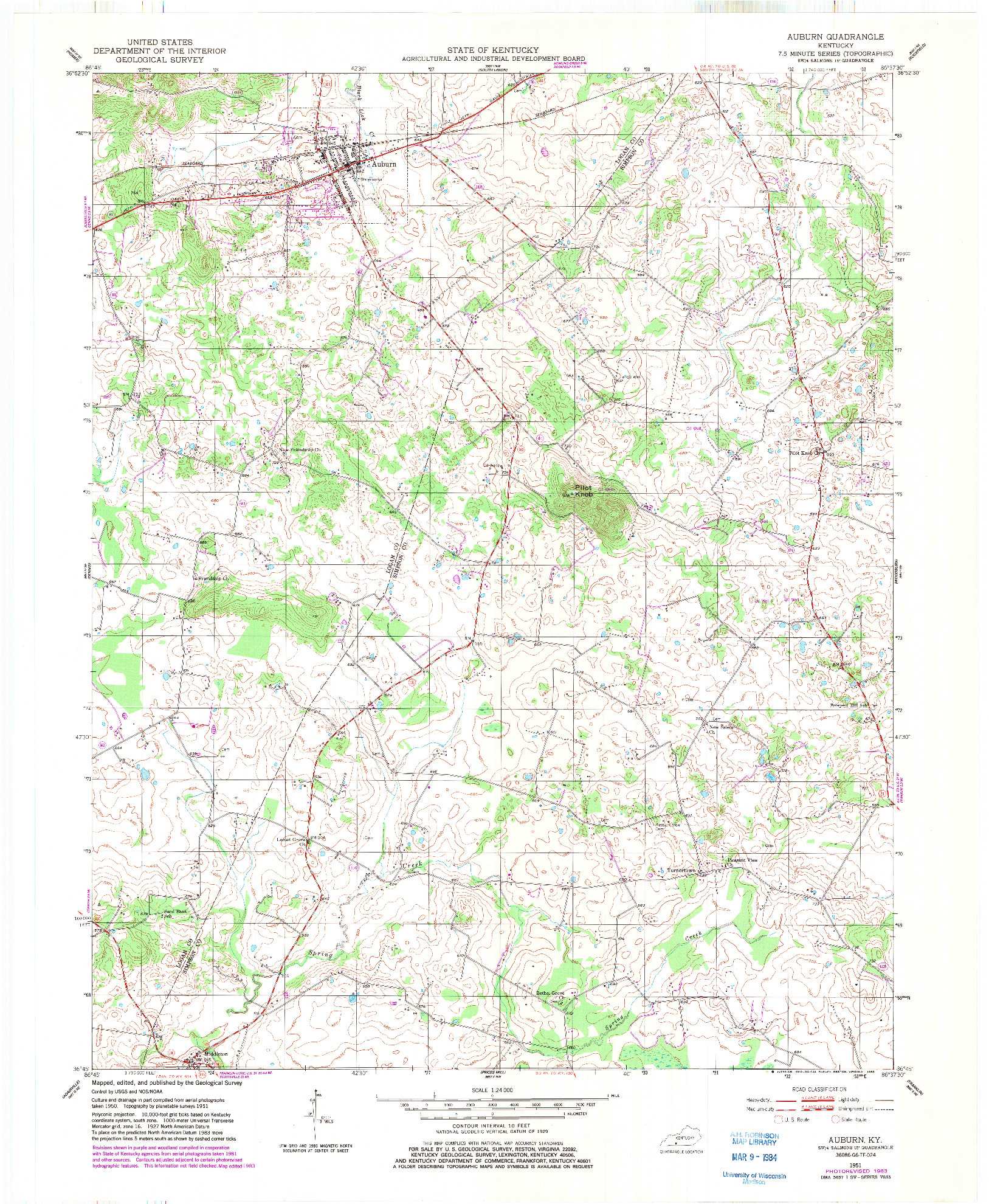 USGS 1:24000-SCALE QUADRANGLE FOR AUBURN, KY 1951