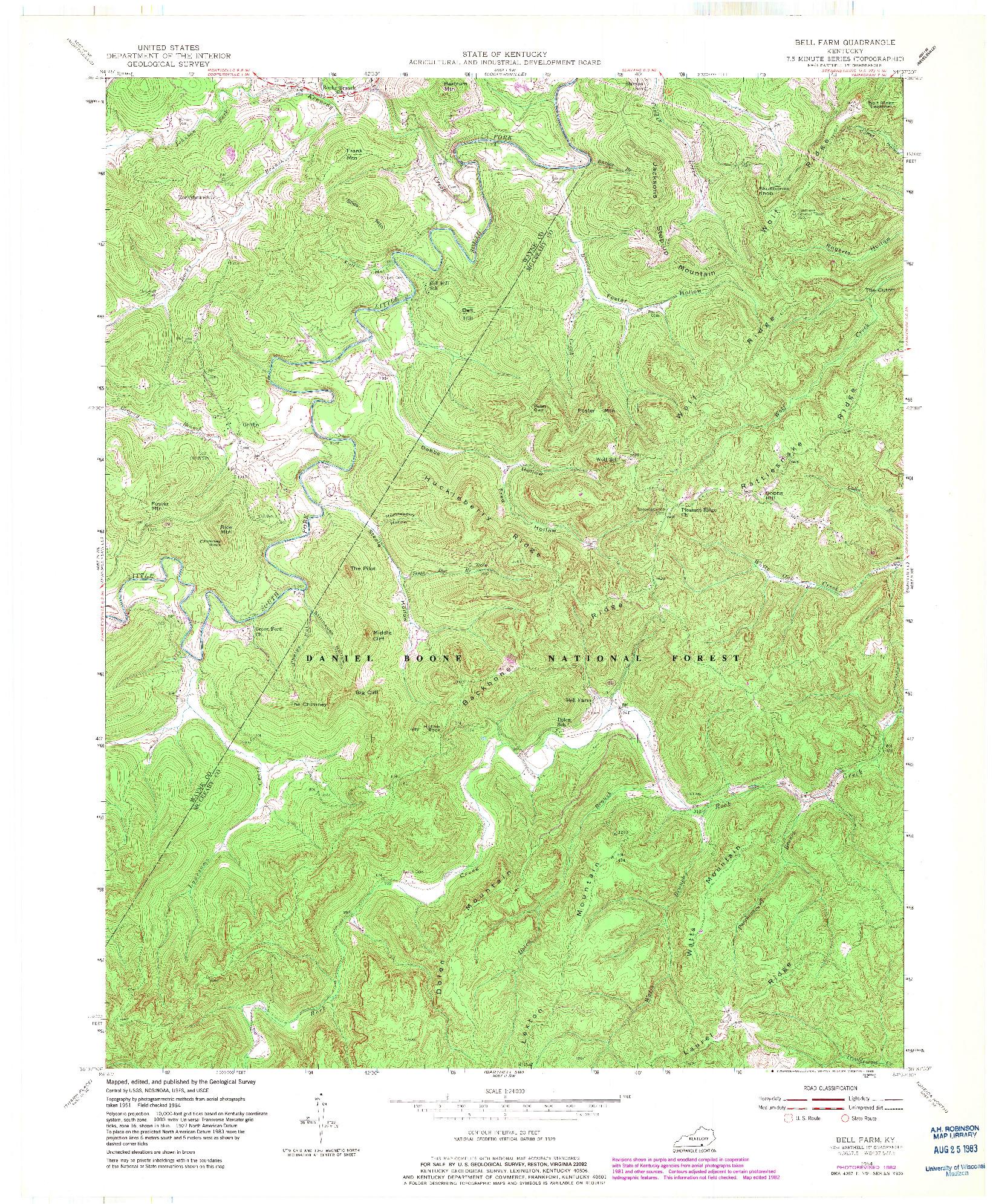 USGS 1:24000-SCALE QUADRANGLE FOR BELL FARM, KY 1954