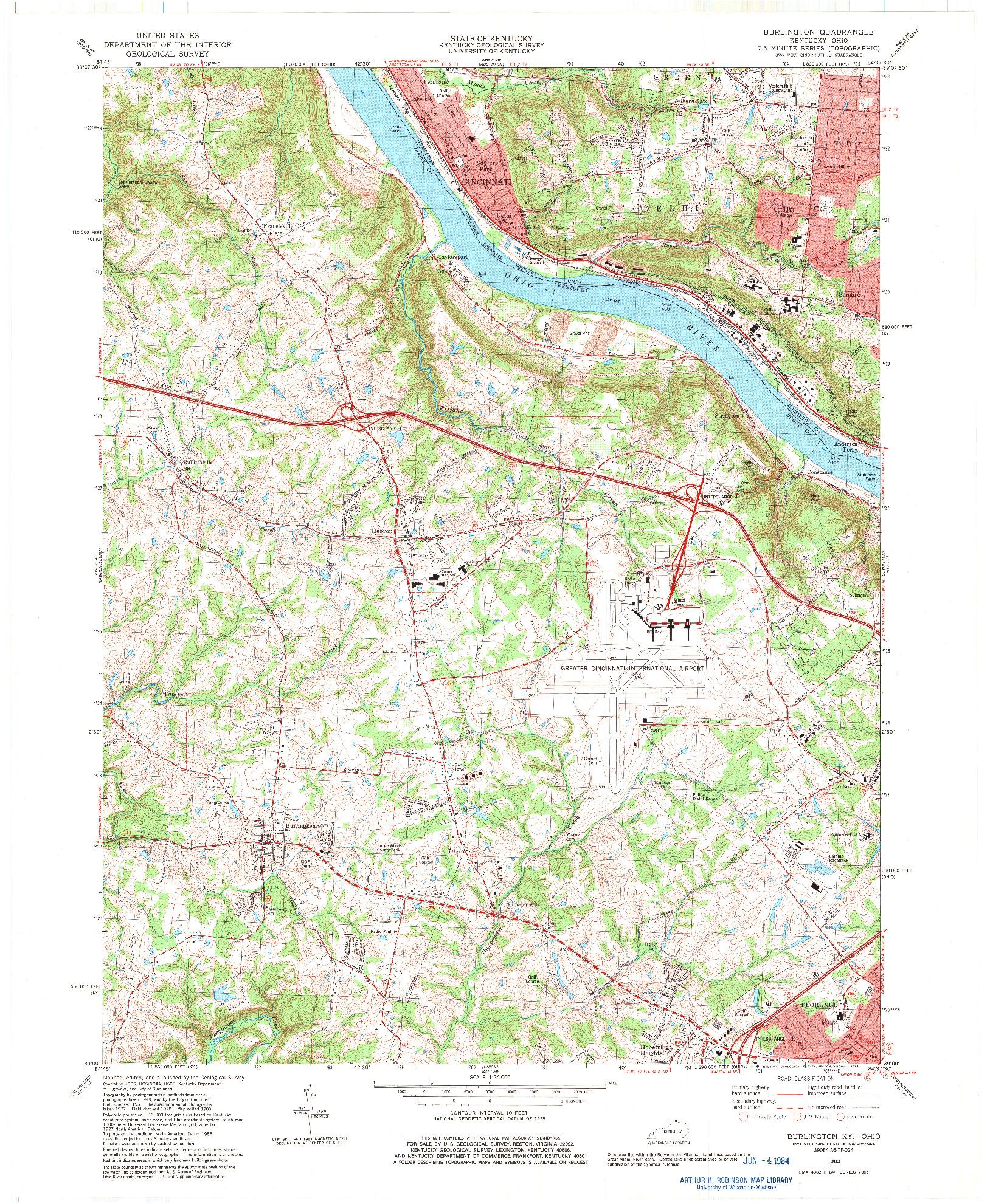 USGS 1:24000-SCALE QUADRANGLE FOR BURLINGTON, KY 1983