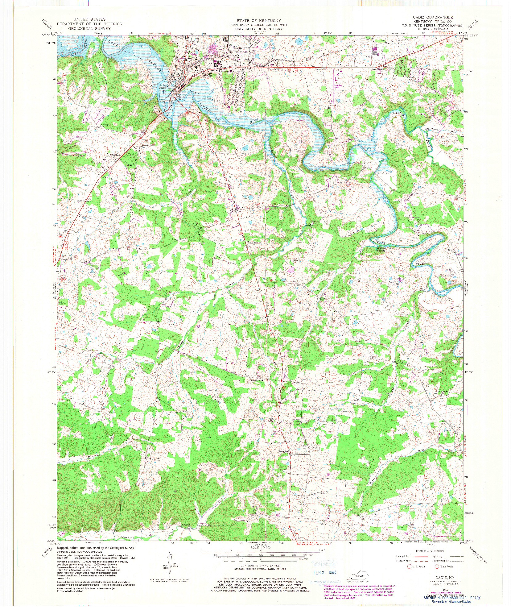 USGS 1:24000-SCALE QUADRANGLE FOR CADIZ, KY 1967