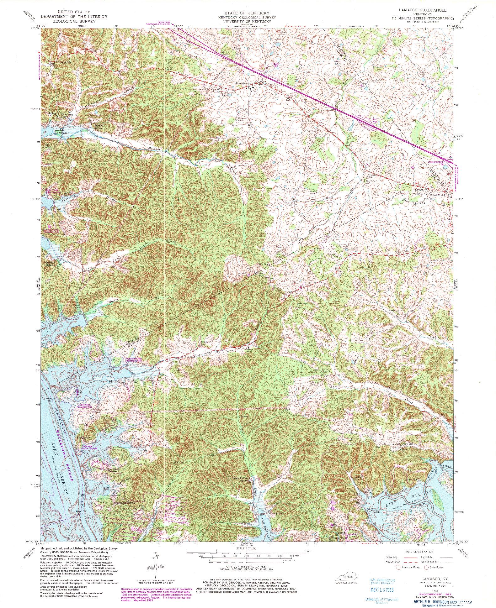 USGS 1:24000-SCALE QUADRANGLE FOR LAMASCO, KY 1967