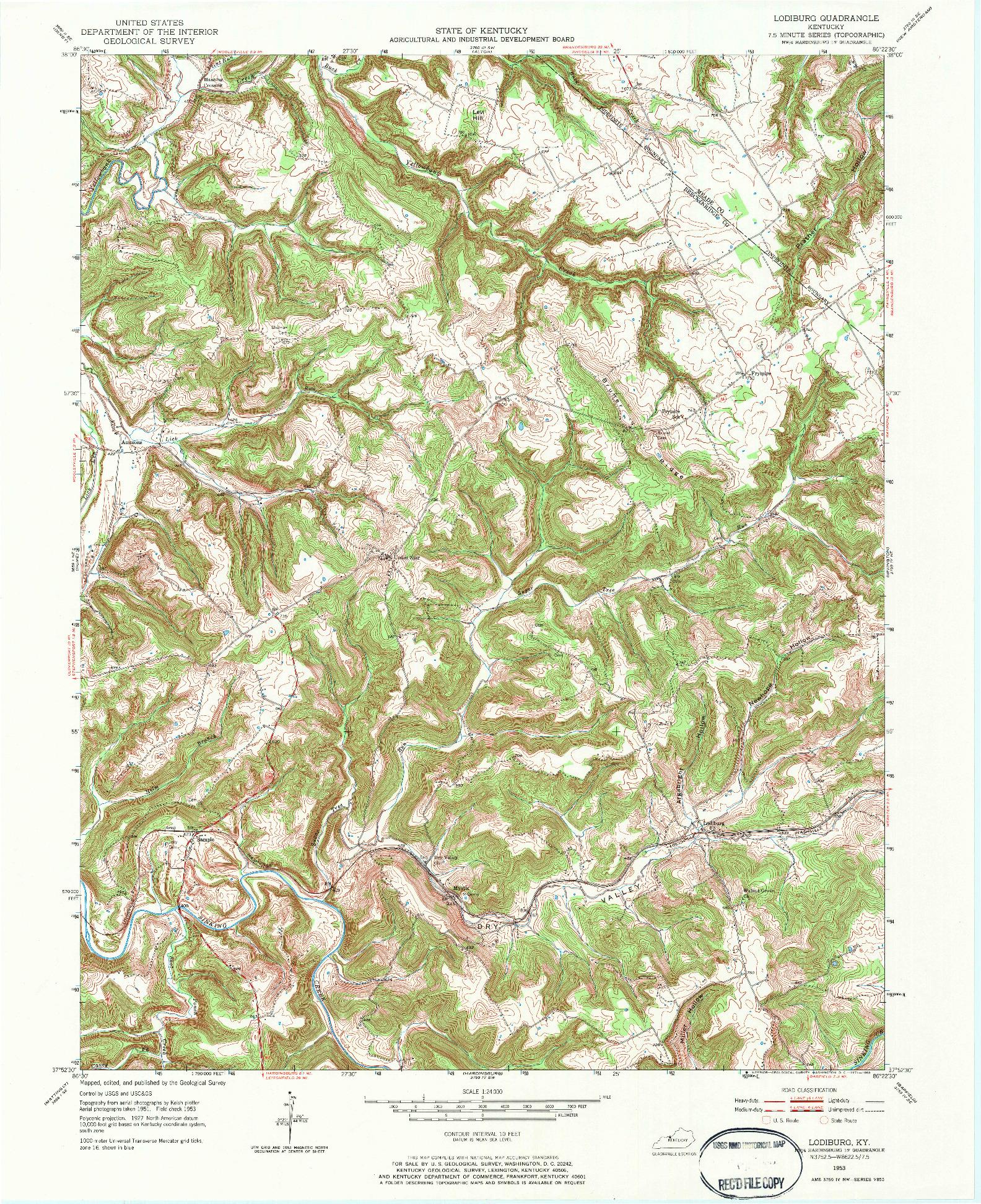 USGS 1:24000-SCALE QUADRANGLE FOR LODIBURG, KY 1953