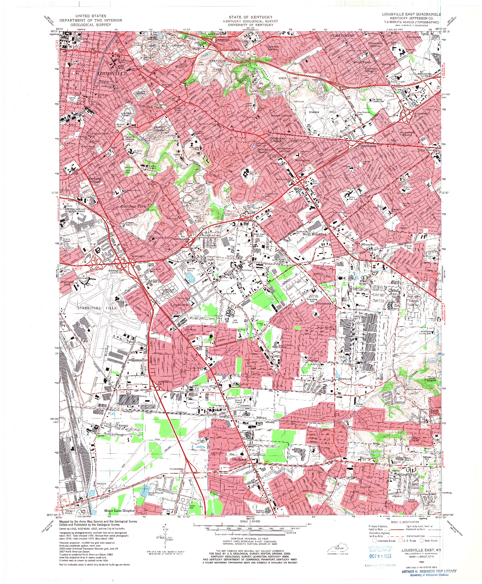 USGS 1:24000-SCALE QUADRANGLE FOR LOUISVILLE EAST, KY 1982