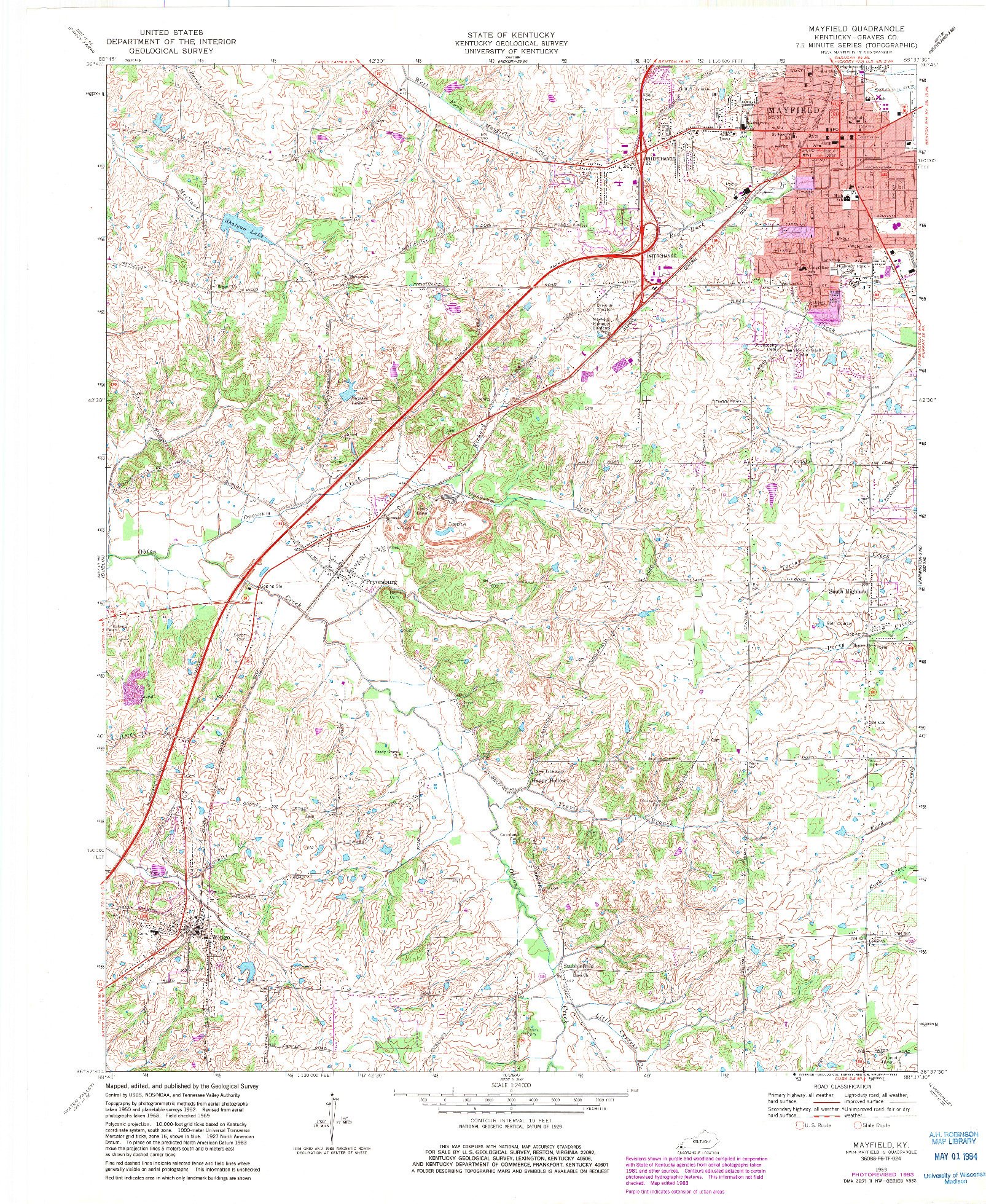 USGS 1:24000-SCALE QUADRANGLE FOR MAYFIELD, KY 1969