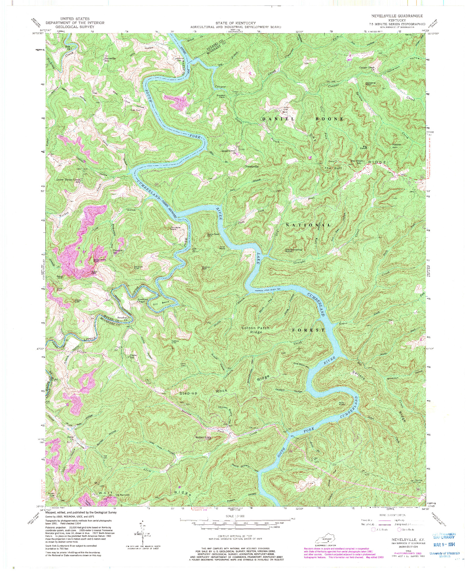 USGS 1:24000-SCALE QUADRANGLE FOR NEVELSVILLE, KY 1954