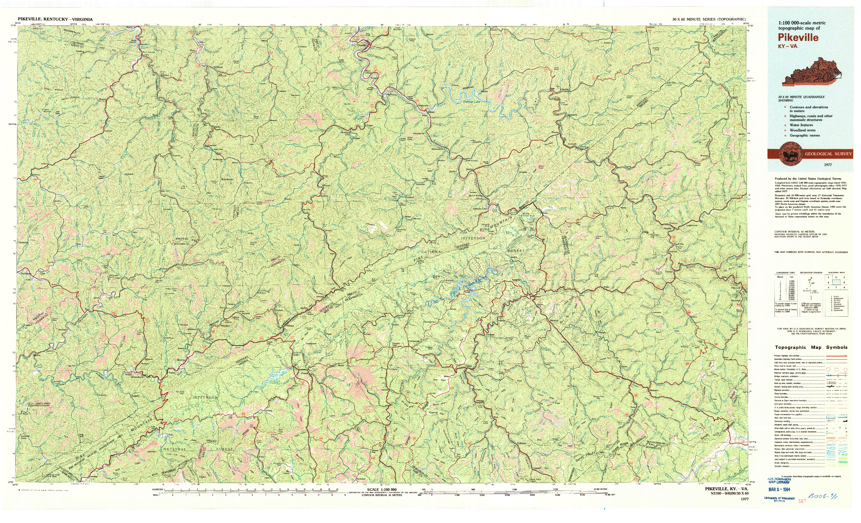 USGS 1:100000-SCALE QUADRANGLE FOR PIKEVILLE, KY 1977