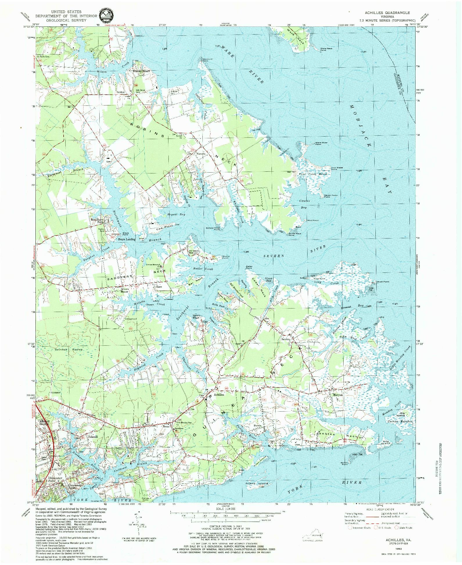 USGS 1:24000-SCALE QUADRANGLE FOR ACHILLES, VA 1983