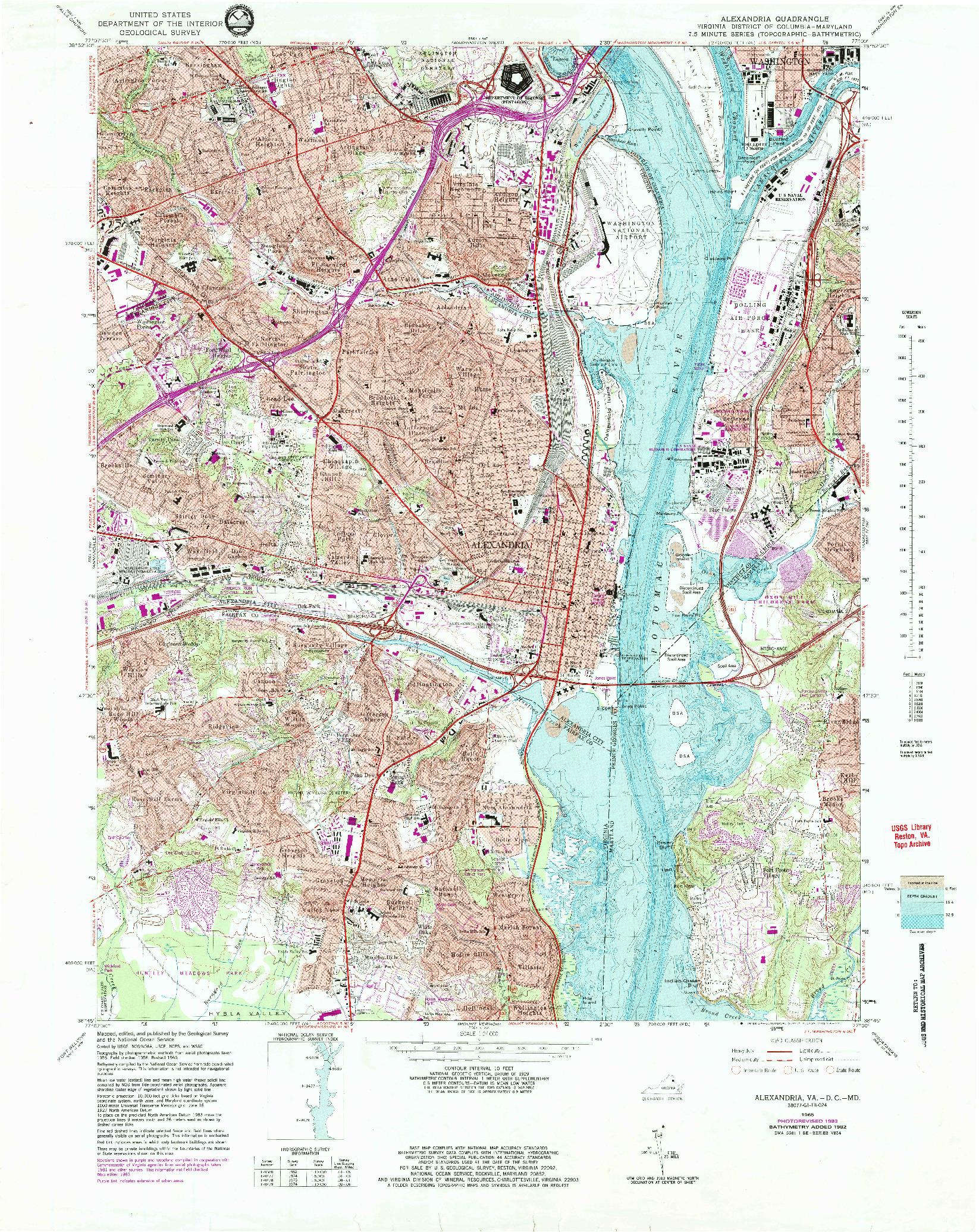 USGS 1:24000-SCALE QUADRANGLE FOR ALEXANDRIA, VA 1965