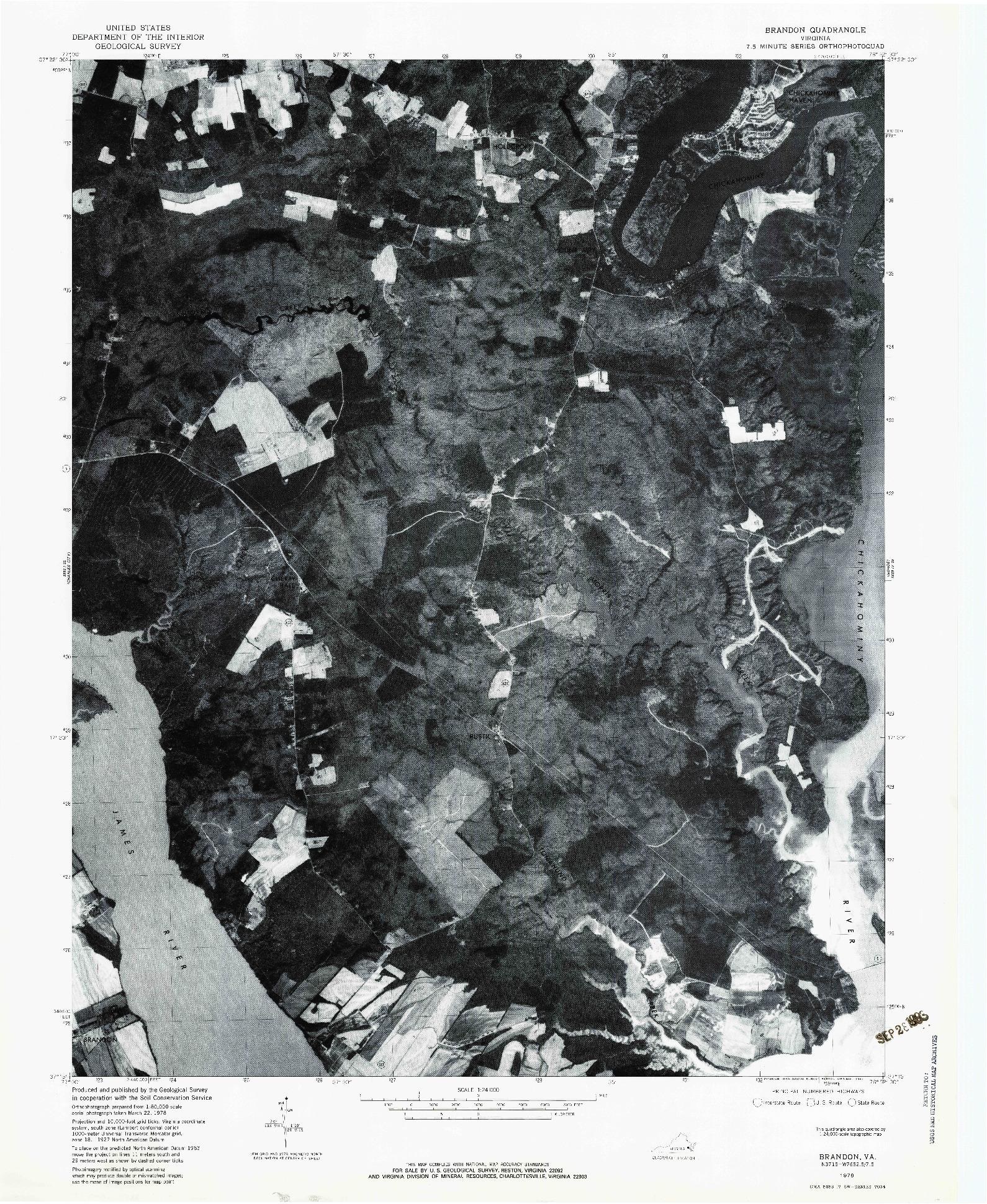 USGS 1:24000-SCALE QUADRANGLE FOR BRANDON, VA 1978