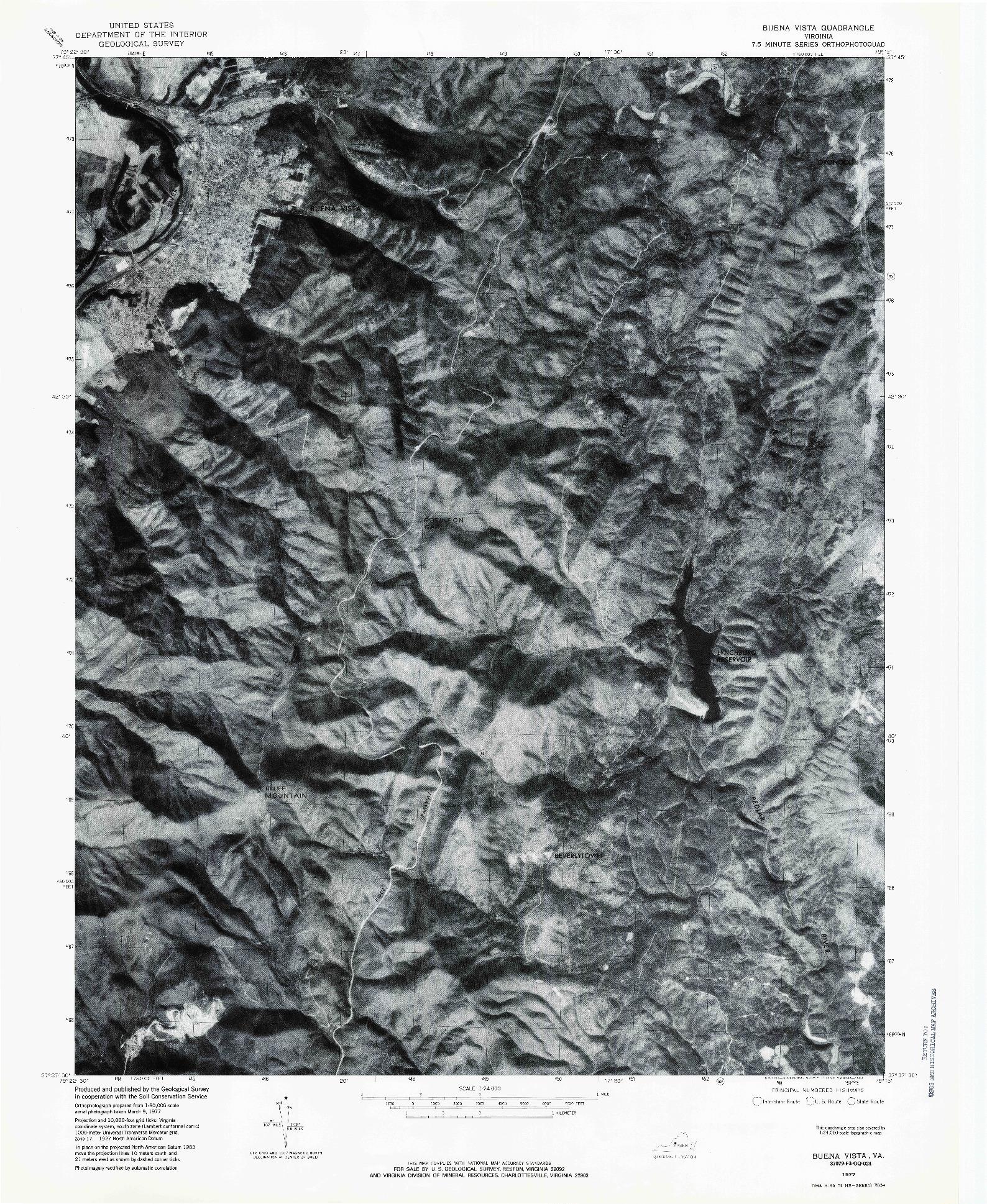 USGS 1:24000-SCALE QUADRANGLE FOR BUENA VISTA, VA 1977