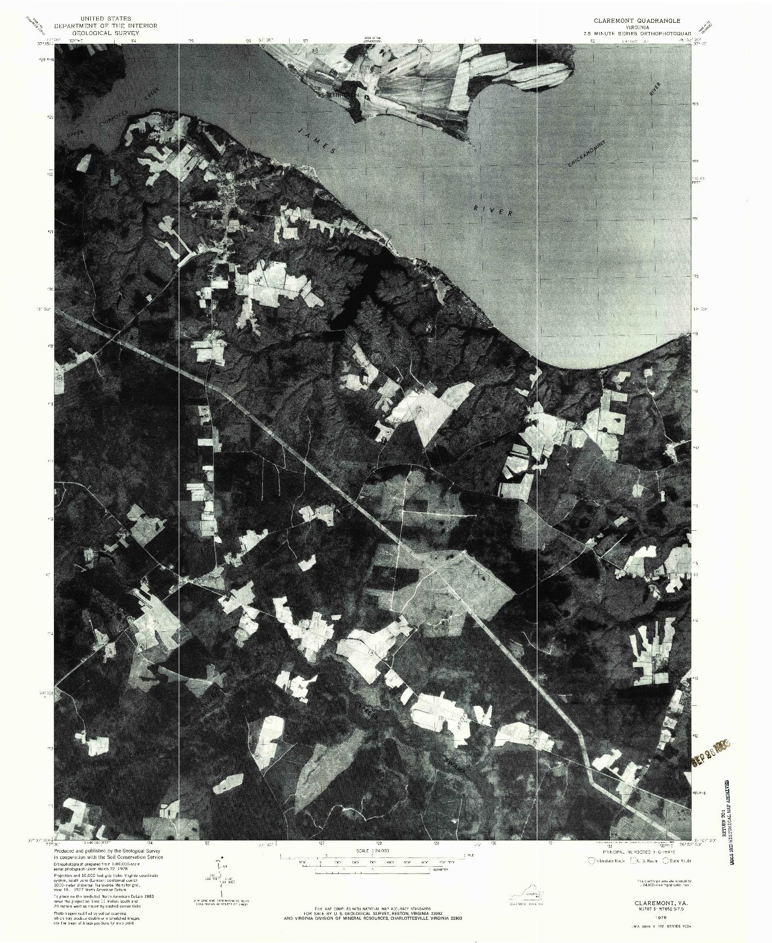 USGS 1:24000-SCALE QUADRANGLE FOR CLAREMONT, VA 1978