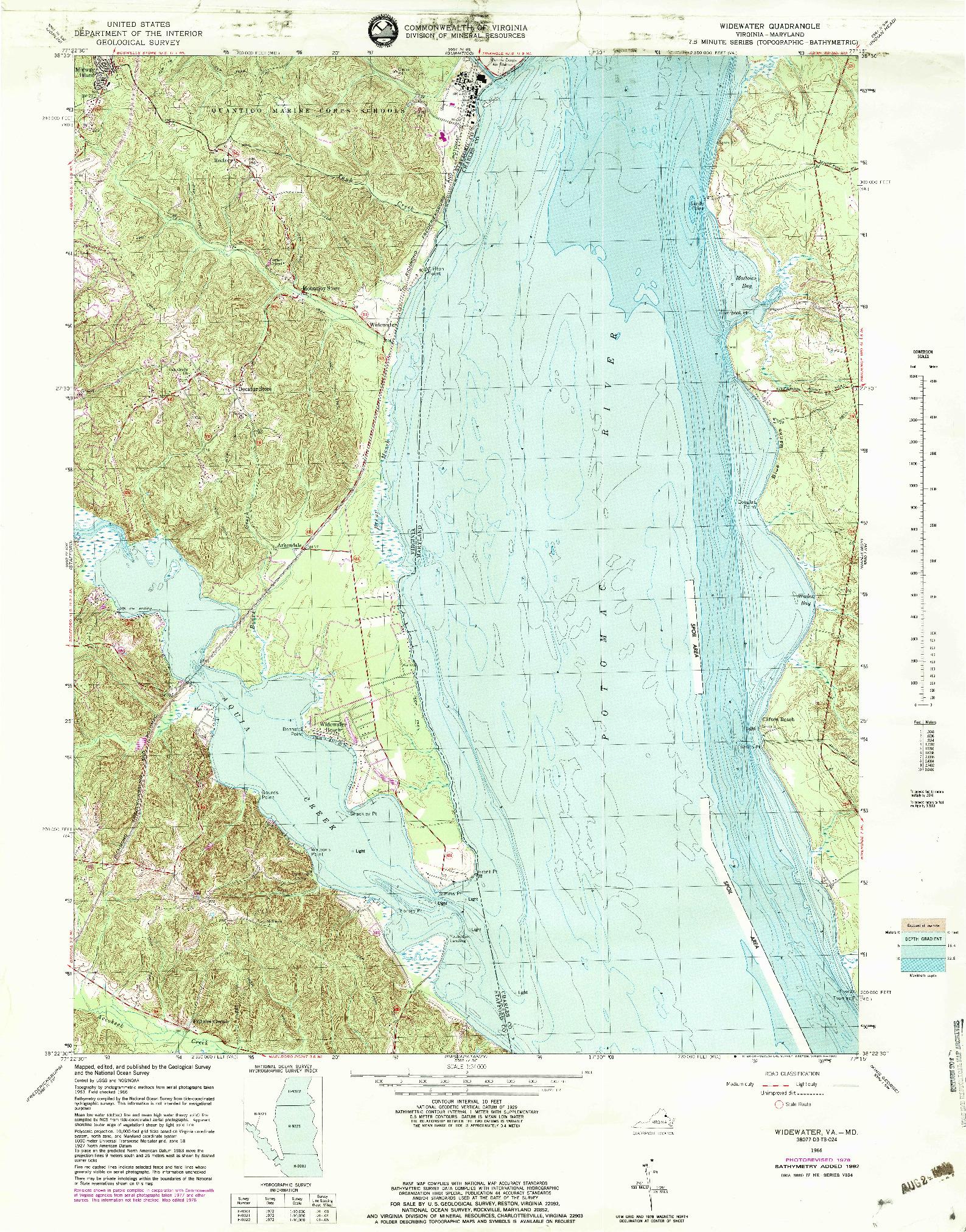 USGS 1:24000-SCALE QUADRANGLE FOR WIDEWATER, VA 1966