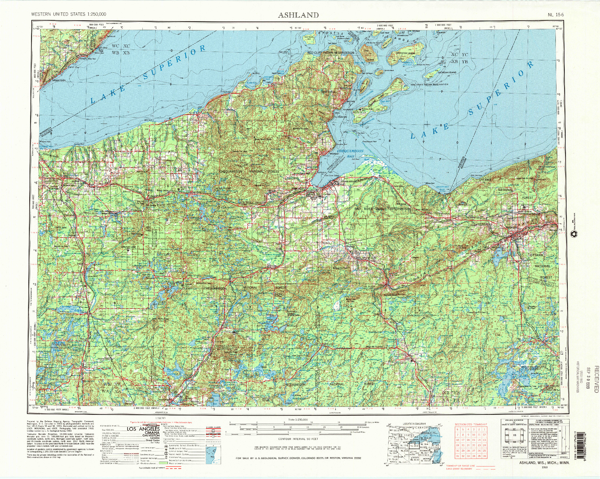 USGS 1:250000-SCALE QUADRANGLE FOR ASHLAND, WI 1953