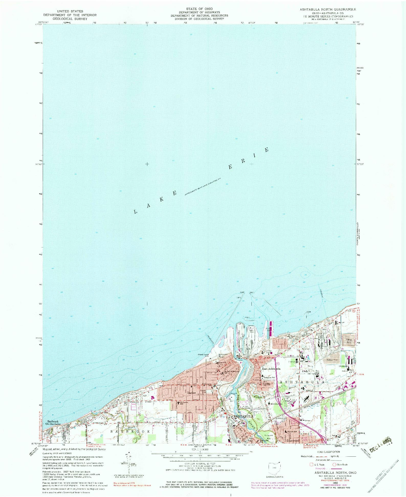 USGS 1:24000-SCALE QUADRANGLE FOR ASHTABULA NORTH, OH 1960