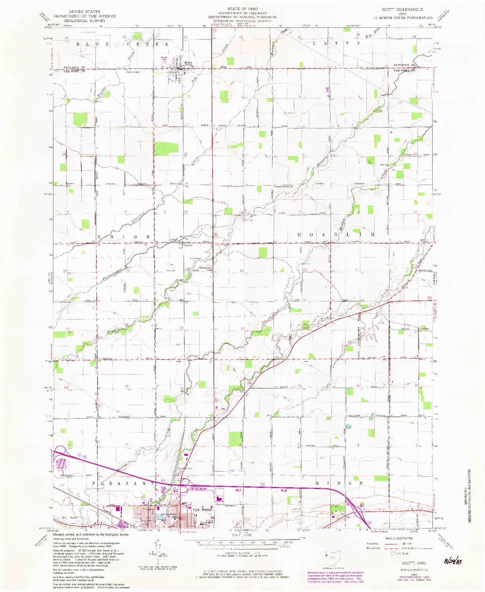 USGS 1:24000-SCALE QUADRANGLE FOR SCOTT, OH 1960