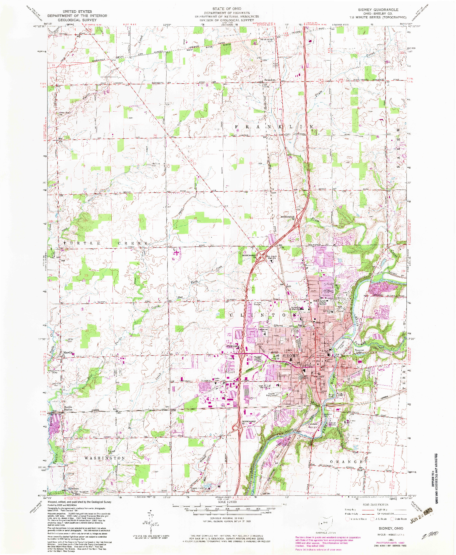 USGS 1:24000-SCALE QUADRANGLE FOR SIDNEY, OH 1961