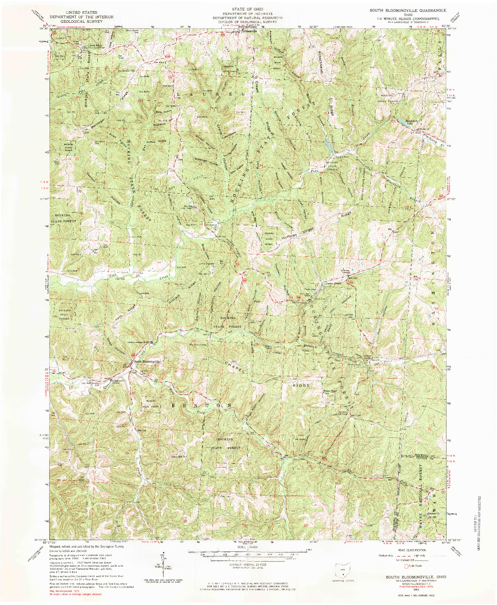 USGS 1:24000-SCALE QUADRANGLE FOR SOUTH BLOOMINGVILLE, OH 1961