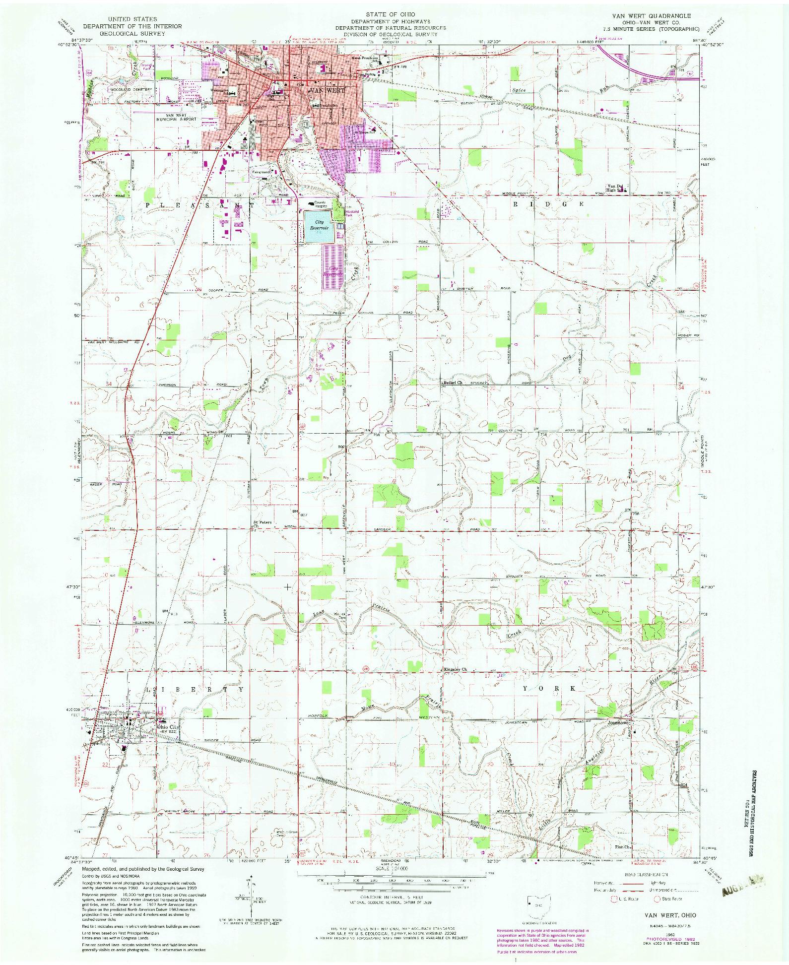 USGS 1:24000-SCALE QUADRANGLE FOR VAN WERT, OH 1960
