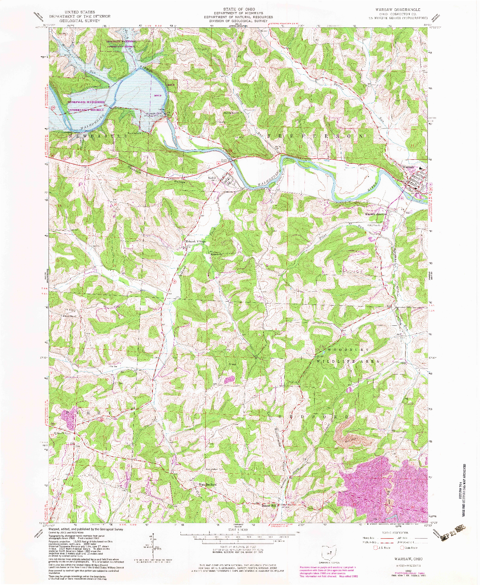 USGS 1:24000-SCALE QUADRANGLE FOR WARSAW, OH 1962