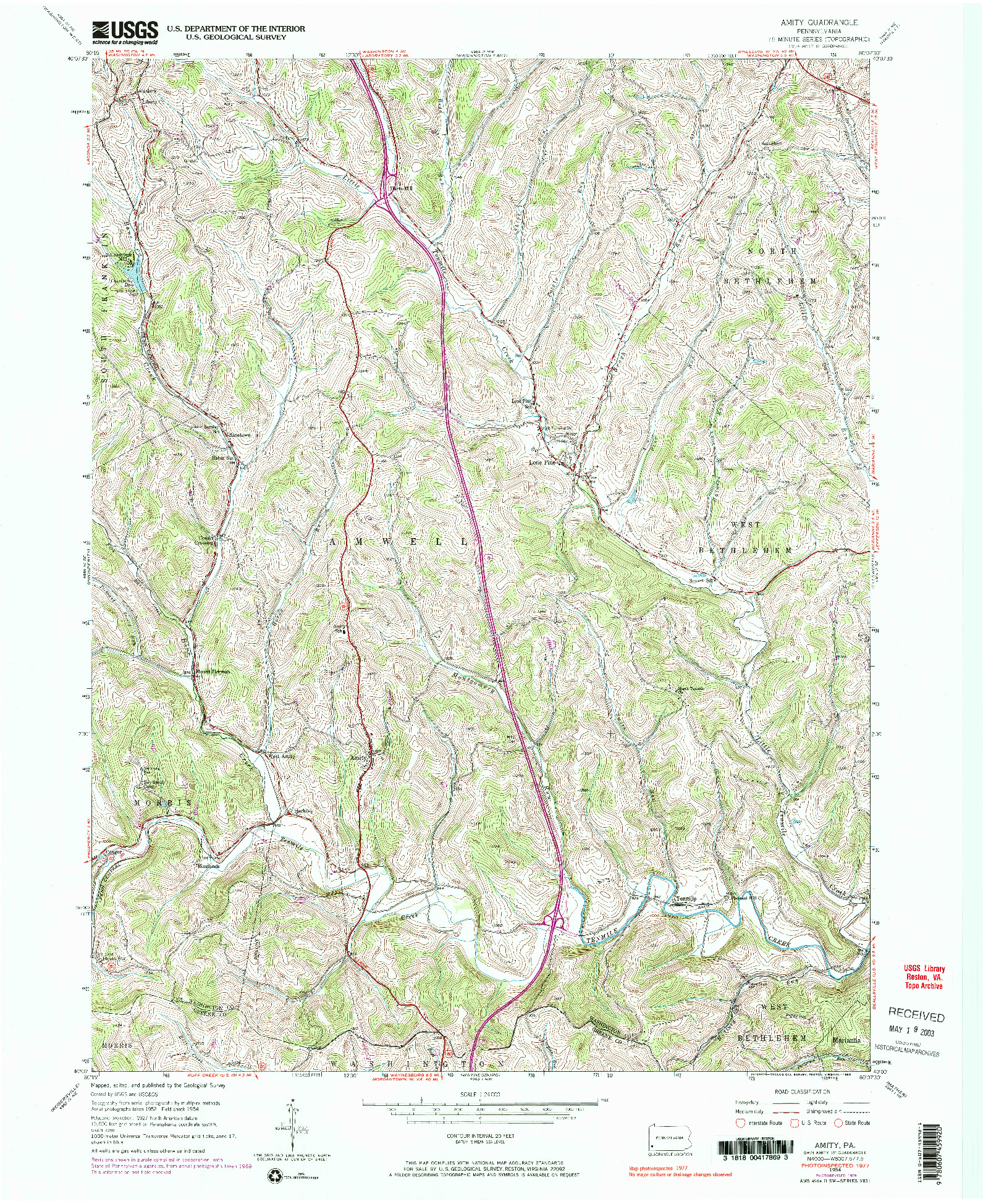 USGS 1:24000-SCALE QUADRANGLE FOR AMITY, PA 1954