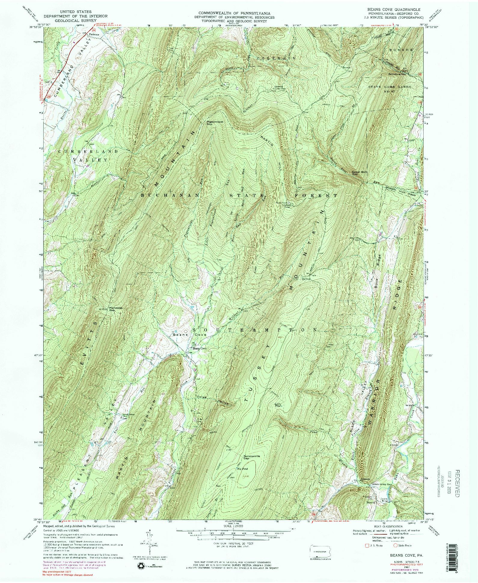 USGS 1:24000-SCALE QUADRANGLE FOR BEANS COVE, PA 1967