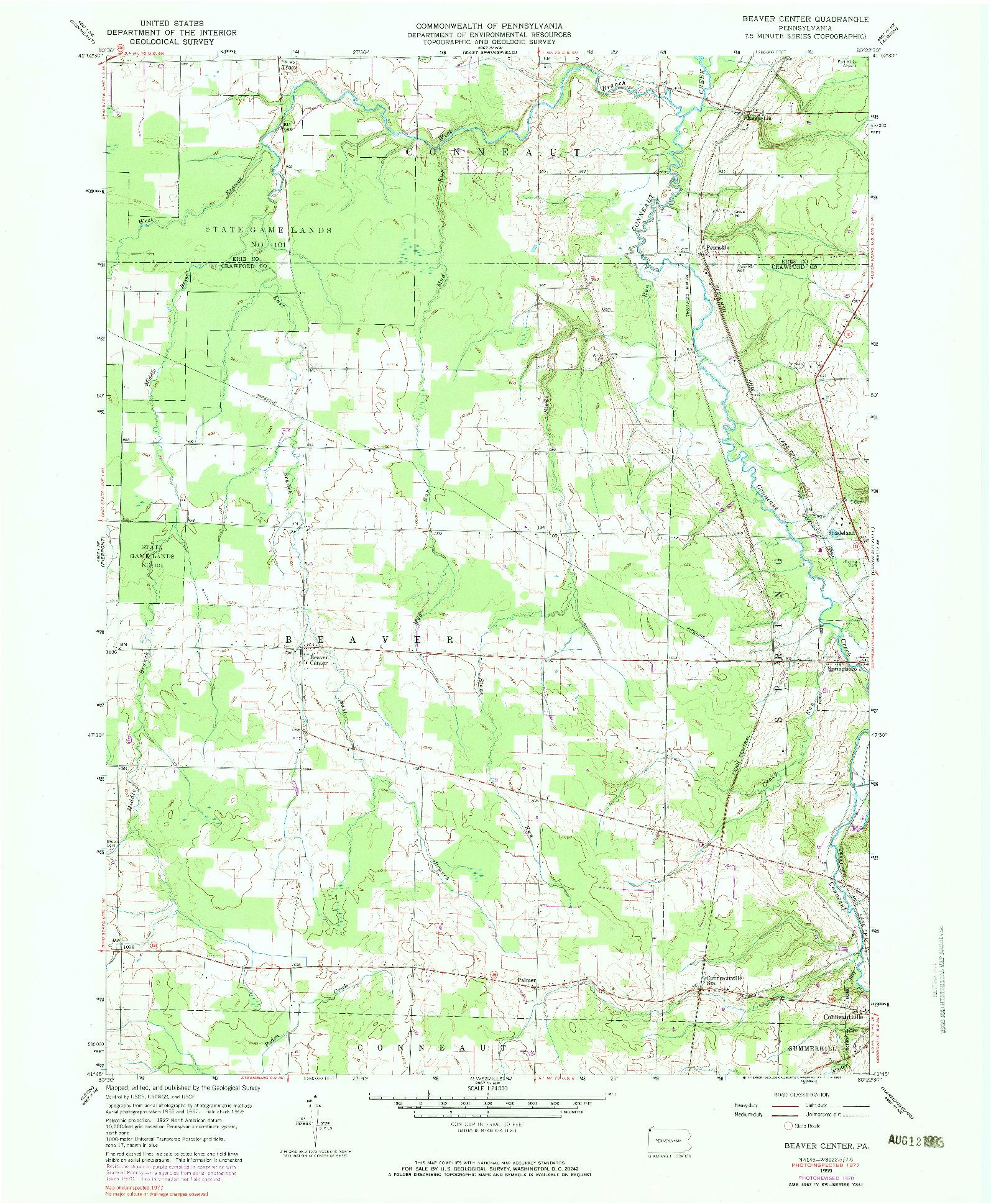 USGS 1:24000-SCALE QUADRANGLE FOR BEAVER CENTER, PA 1959