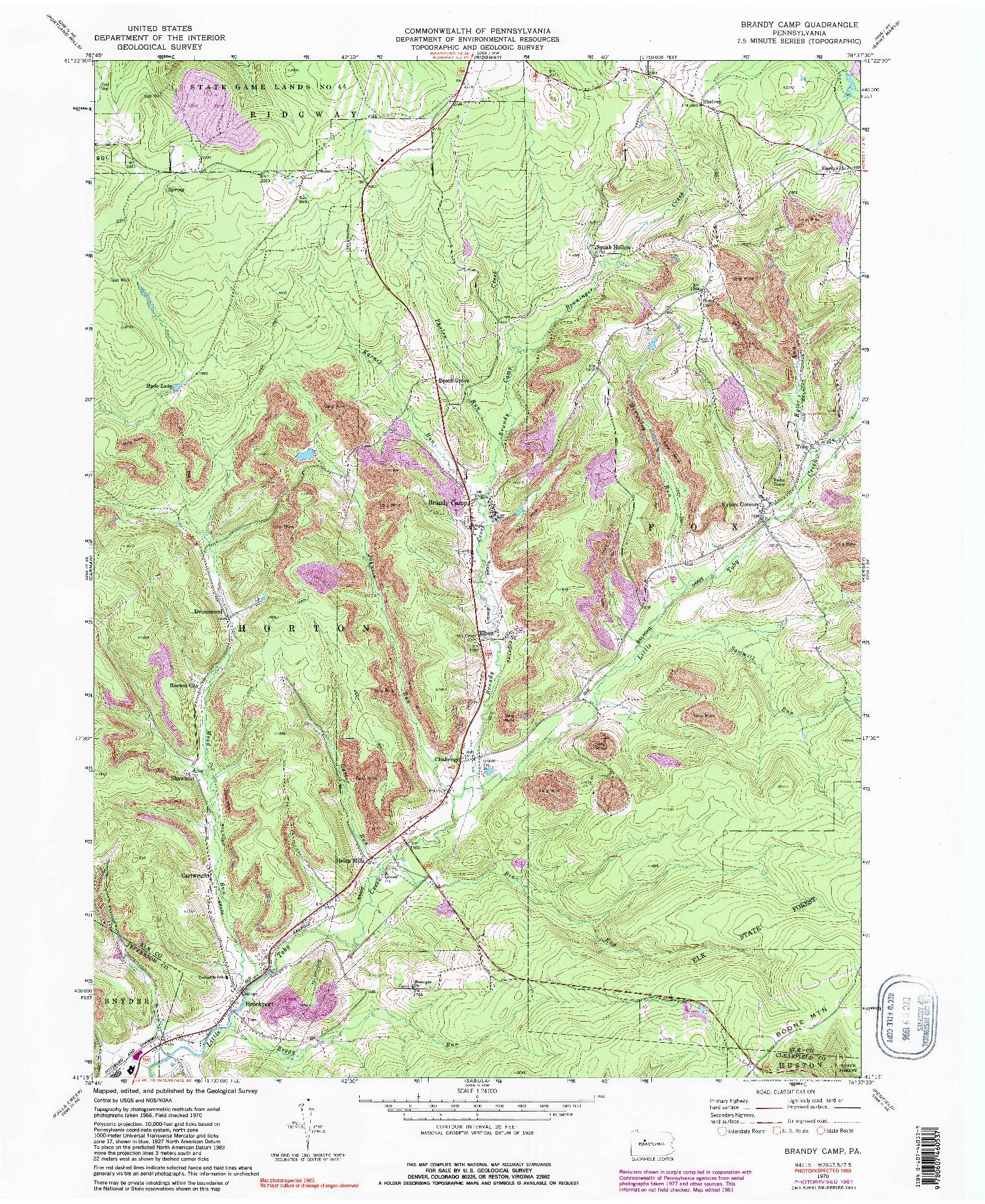 USGS 1:24000-SCALE QUADRANGLE FOR BRANDY CAMP, PA 1970
