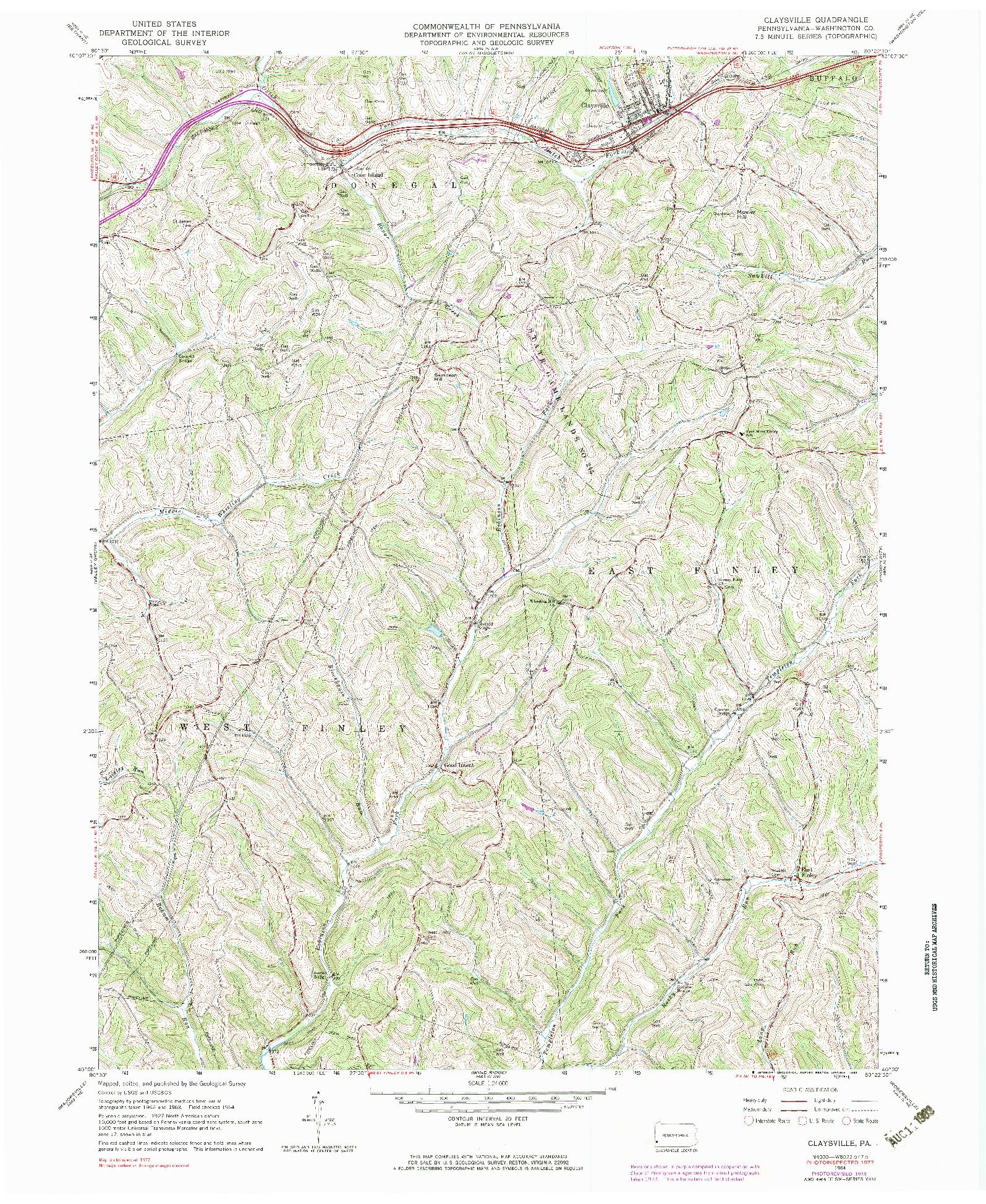 USGS 1:24000-SCALE QUADRANGLE FOR CLAYSVILLE, PA 1964