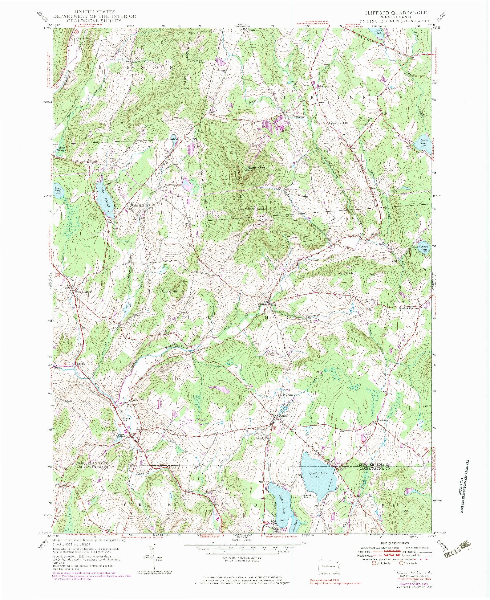 USGS 1:24000-SCALE QUADRANGLE FOR CLIFFORD, PA 1946