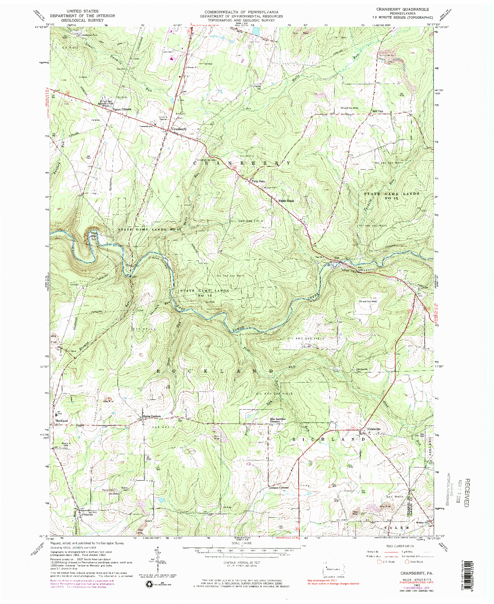 USGS 1:24000-SCALE QUADRANGLE FOR CRANBERRY, PA 1963