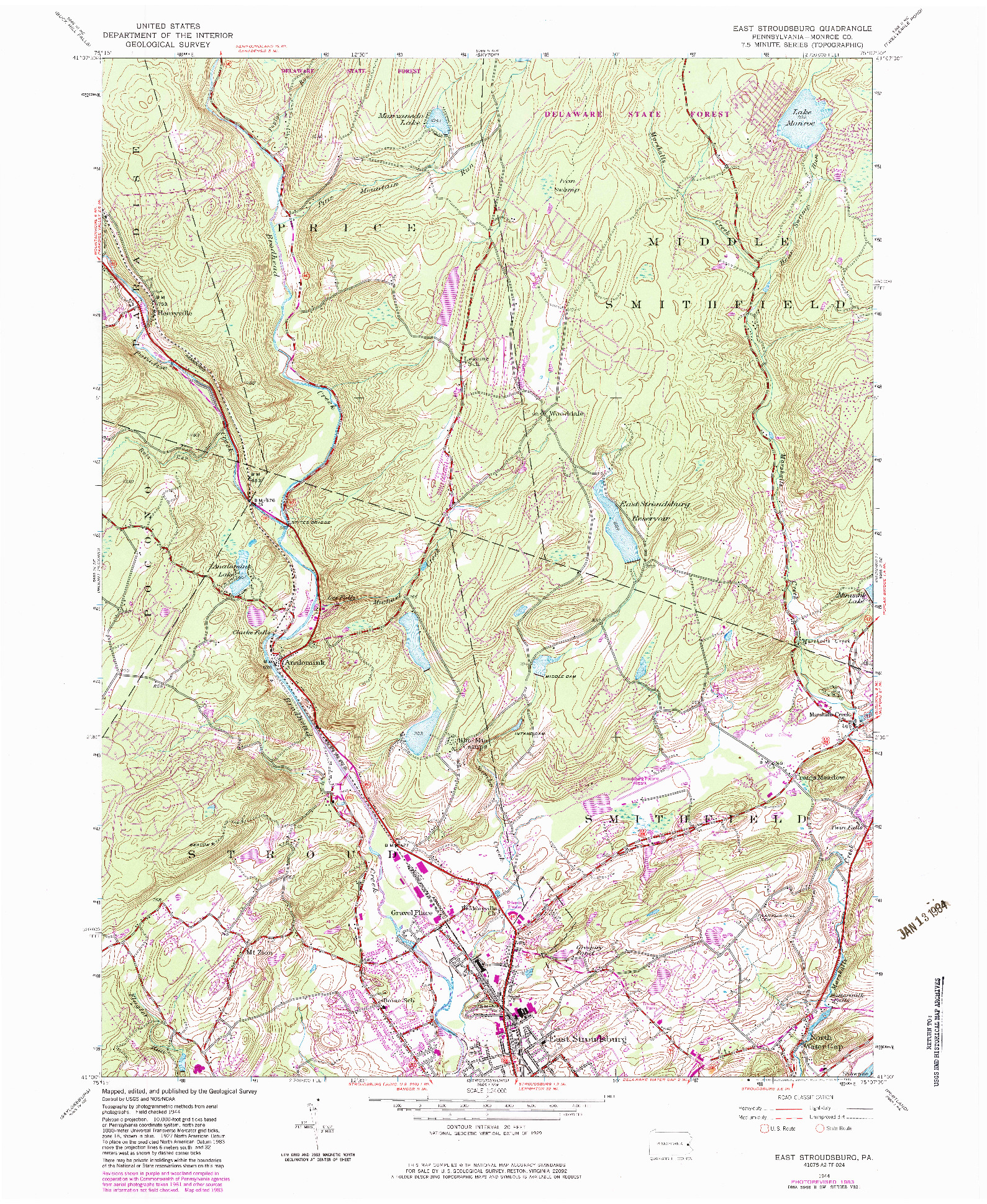 USGS 1:24000-SCALE QUADRANGLE FOR EAST STROUDSBURG, PA 1944